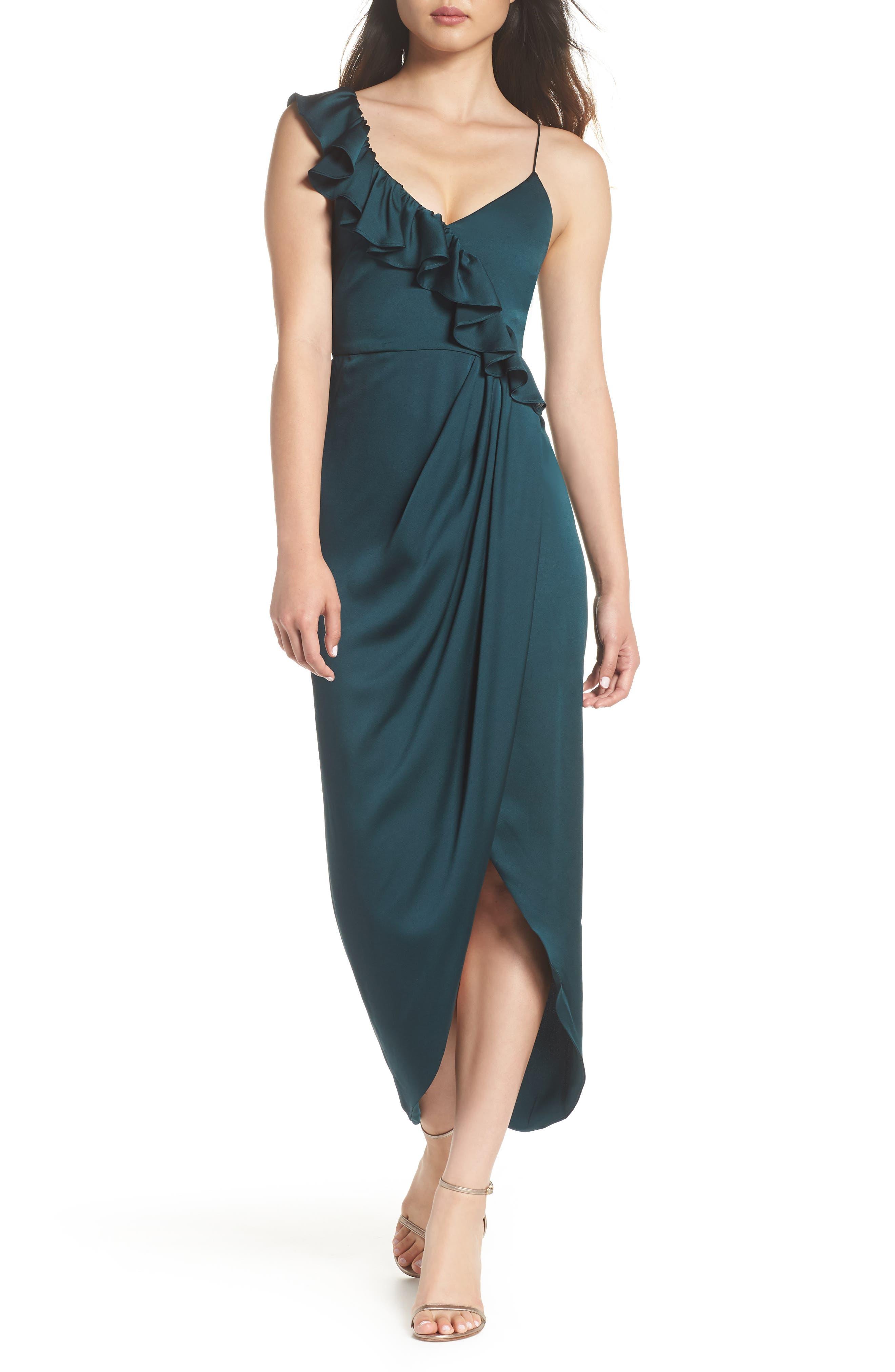 SHONA JOY Luxe Asymmetrical Frill Maxi Dress in Emerald