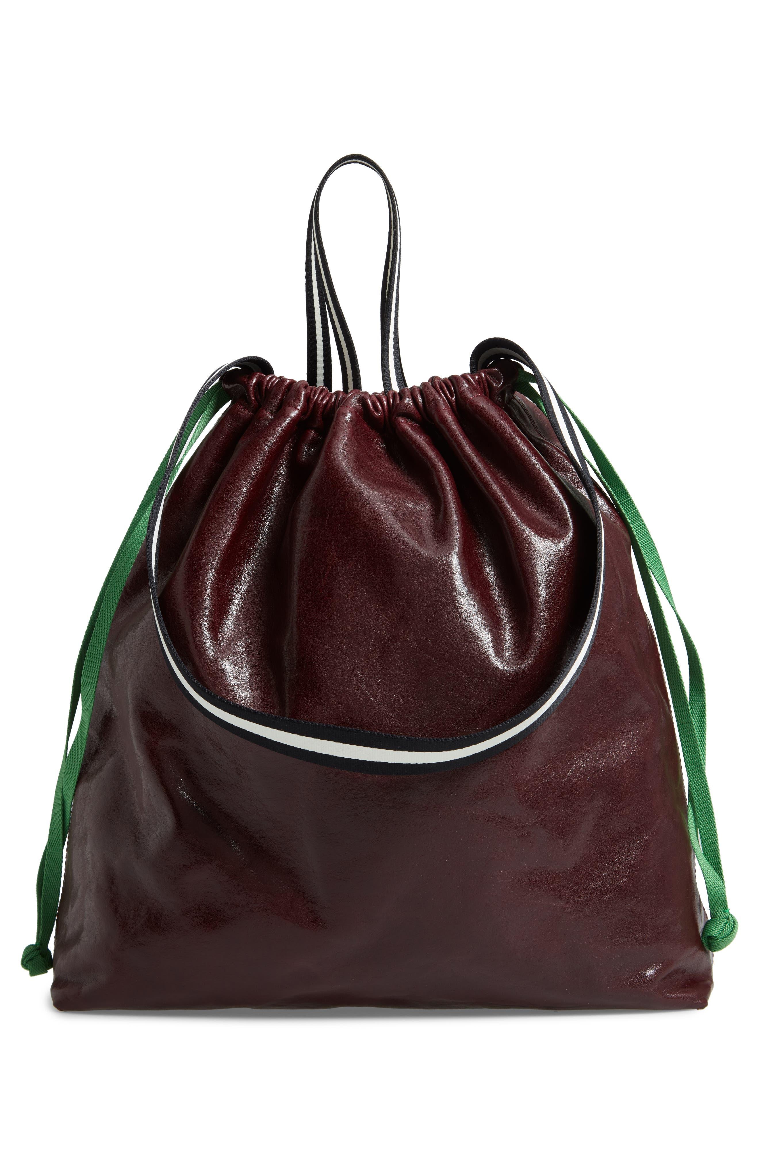 Wefty Drawstring Bucket Bag,                             Alternate thumbnail 3, color,                             OXBLOOD