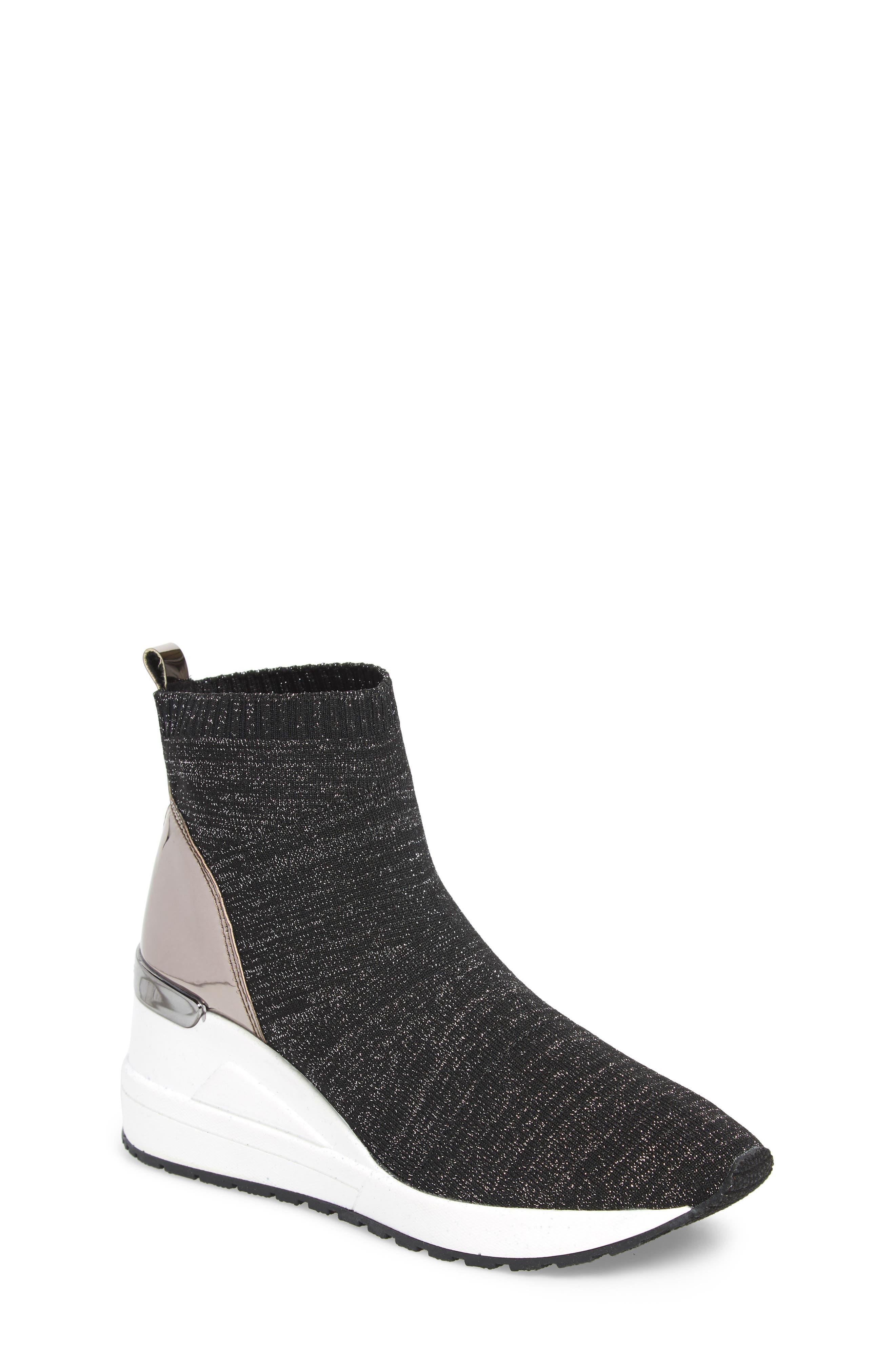 Neo Flex Metallic Wedge Sneaker,                         Main,                         color, BLACK METALLIC