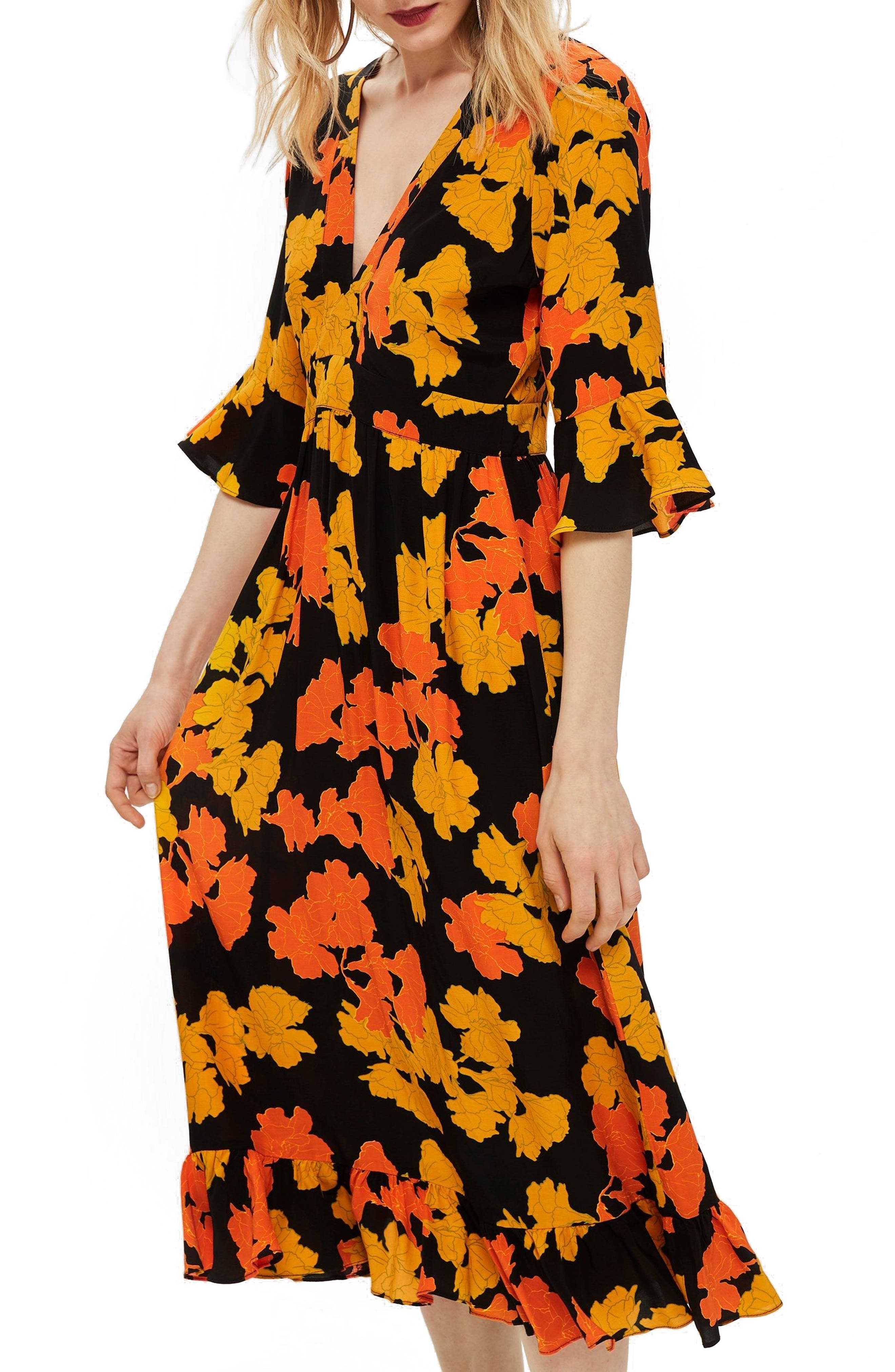 TOPSHOP,                             Bold Floral Midi Dress,                             Alternate thumbnail 5, color,                             001