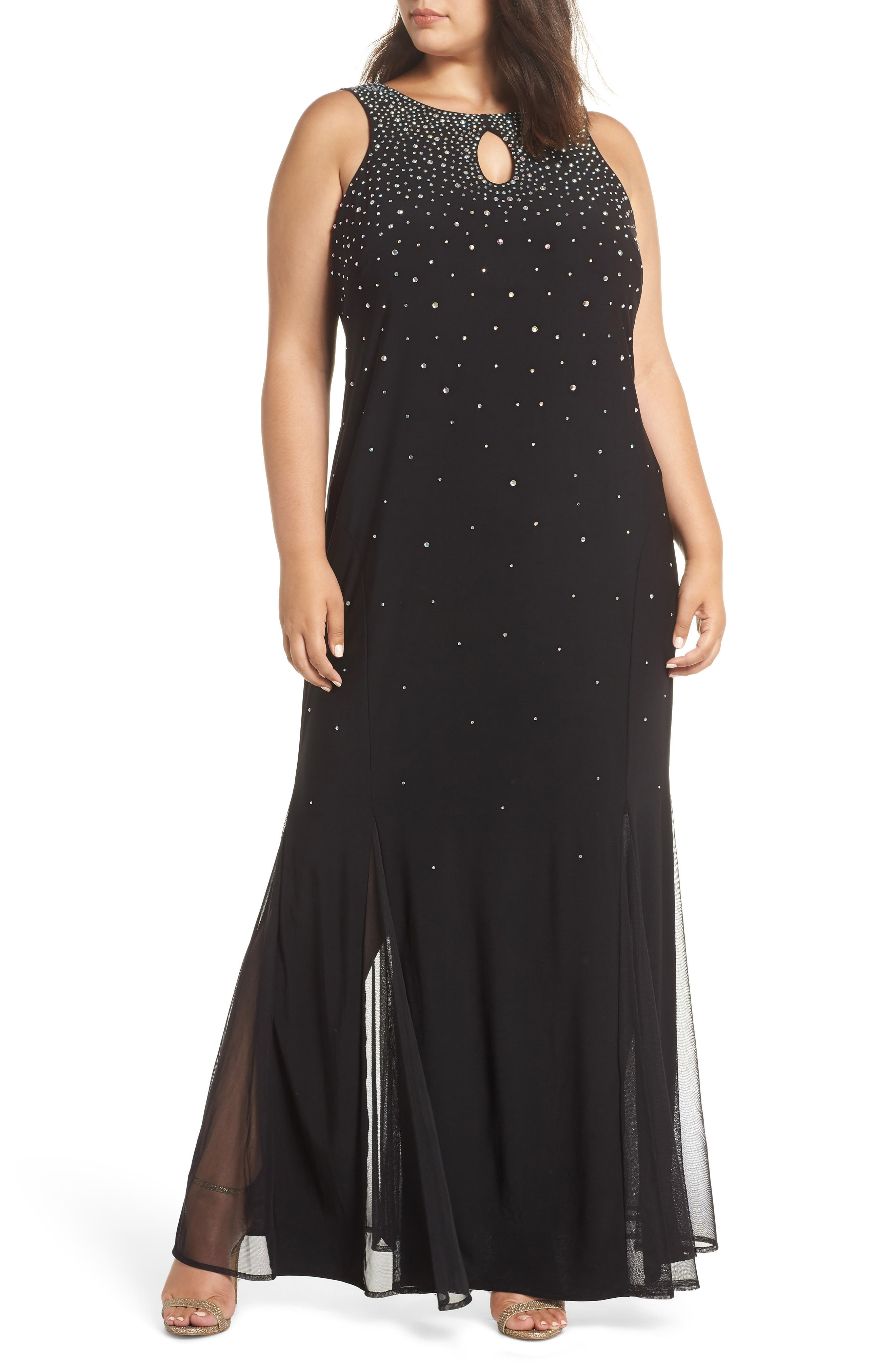 MORGAN & CO. Rhinestone Trumpet Gown, Main, color, BLACK