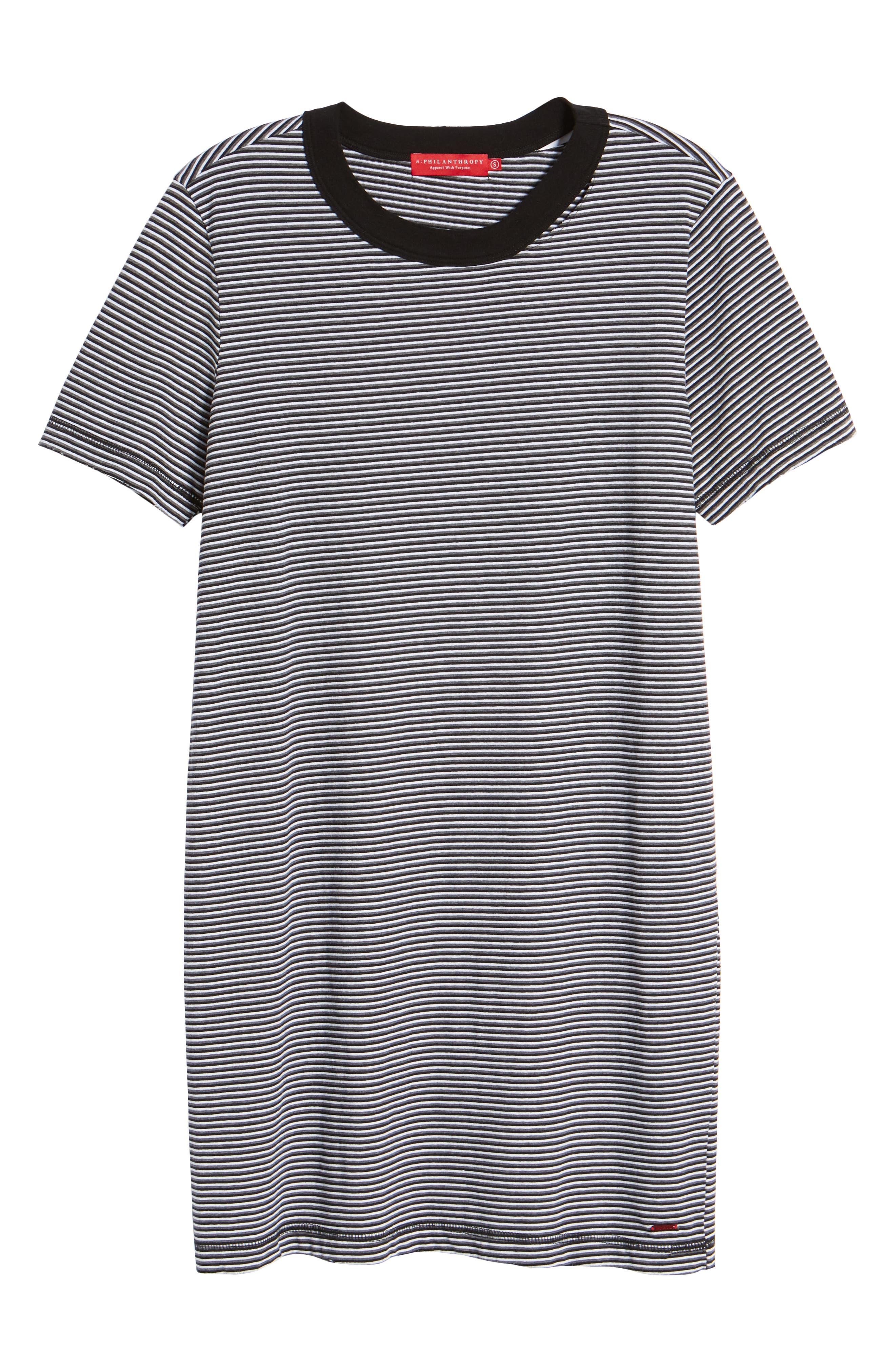 Azul Ringer Stripe T-Shirt Dress,                             Alternate thumbnail 6, color,                             400