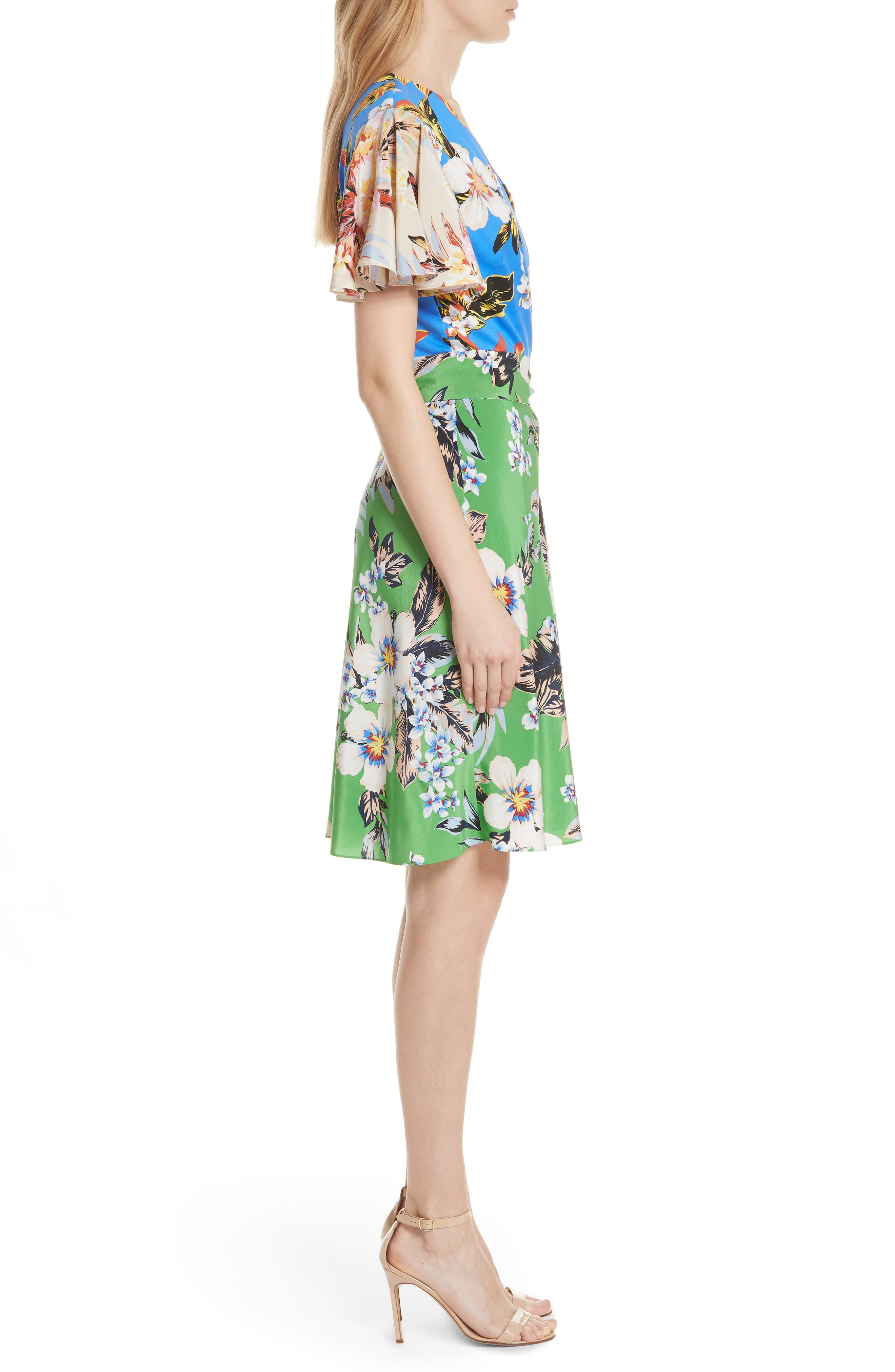 Diane von Furstenberg Flutter Sleeve Silk Wrap Dress,                             Alternate thumbnail 3, color,                             BOLAN PALM MULTI