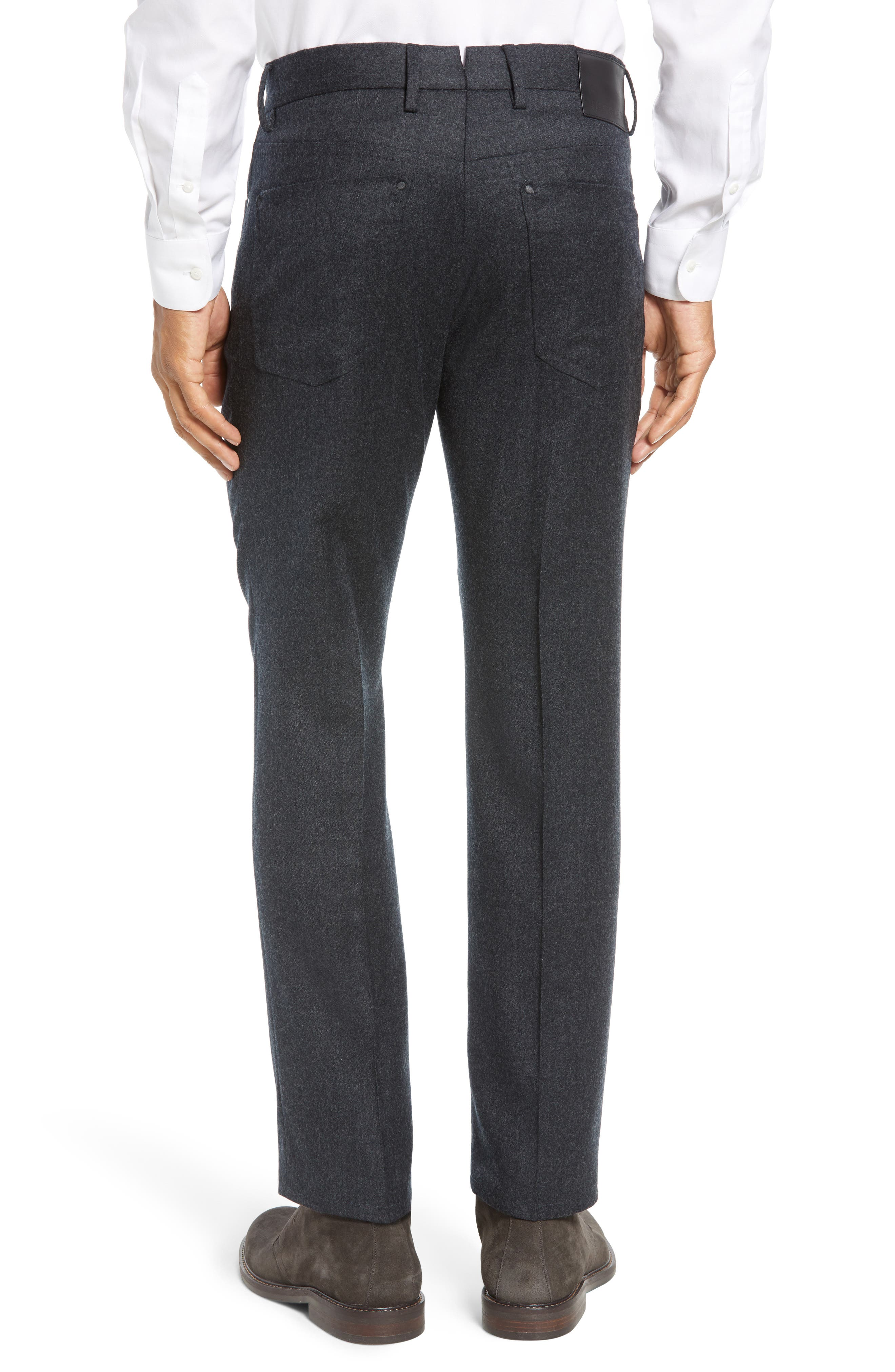 Five-Pocket Solid Wool Trousers,                             Alternate thumbnail 2, color,                             CHARCOAL