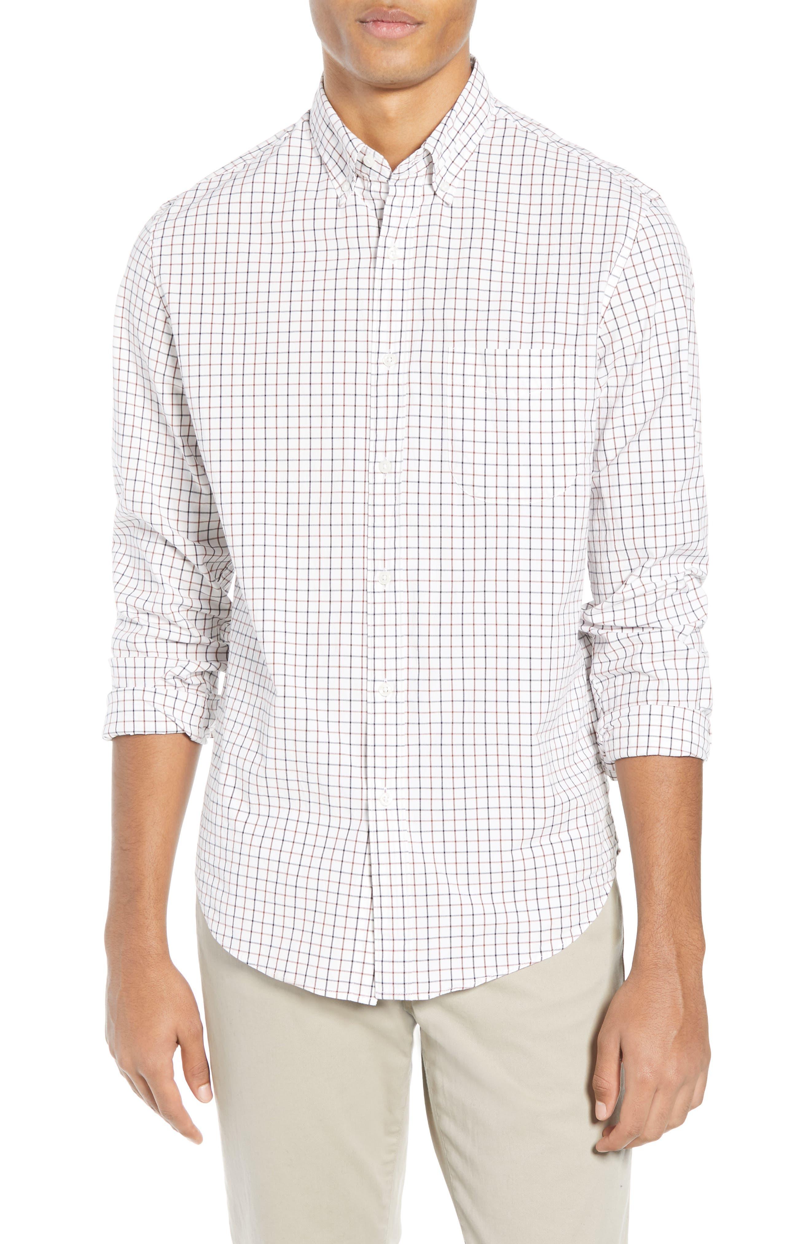 Slim Fit Stretch Secret Wash Stripe Tattersall Sport Shirt,                             Main thumbnail 1, color,                             NAVY MAHOGANY