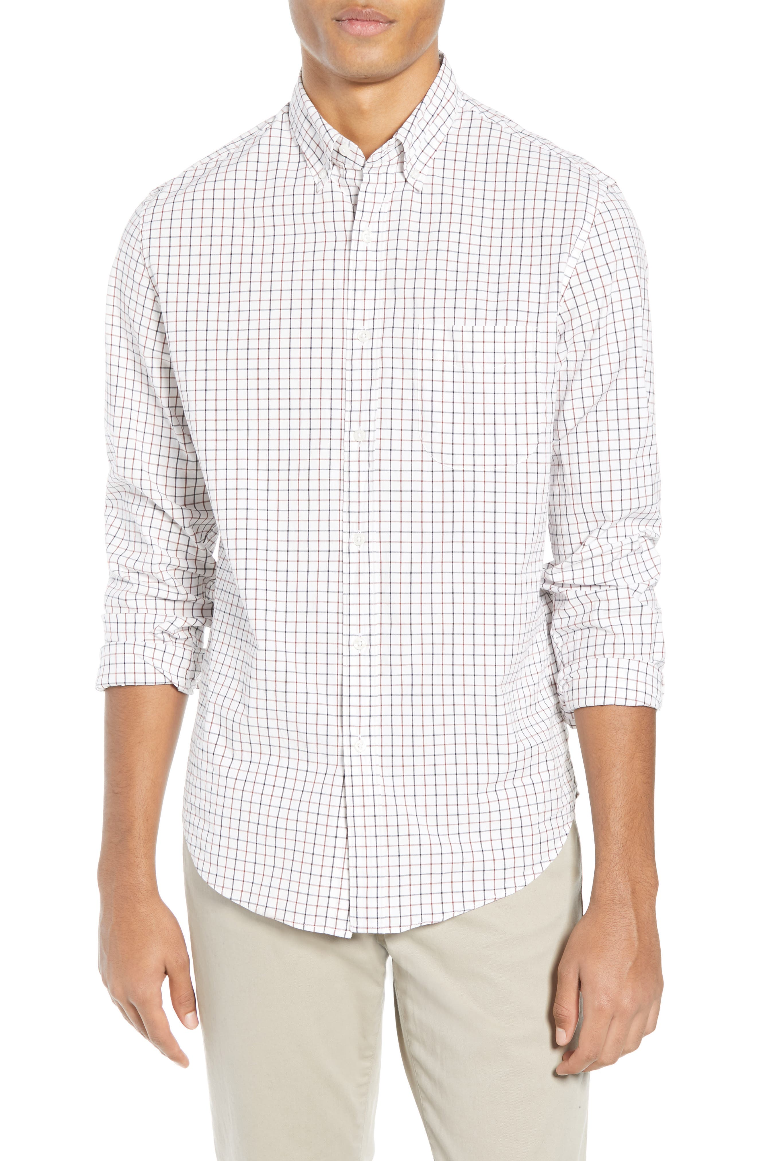 Slim Fit Stretch Secret Wash Stripe Tattersall Sport Shirt,                         Main,                         color, NAVY MAHOGANY