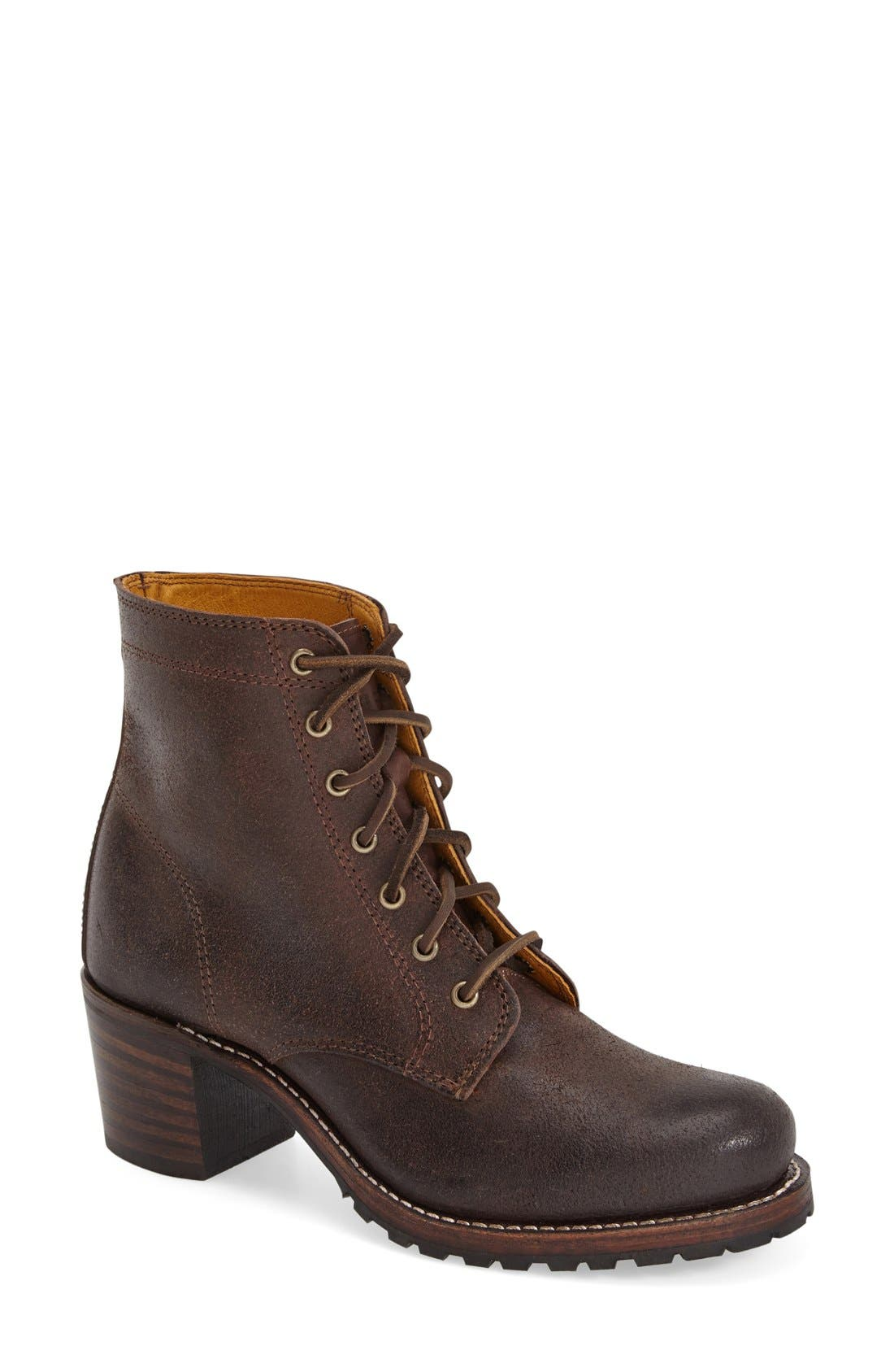 FRYE Sabrina Distressed Lace-Up Boots in Dark Brown Suede