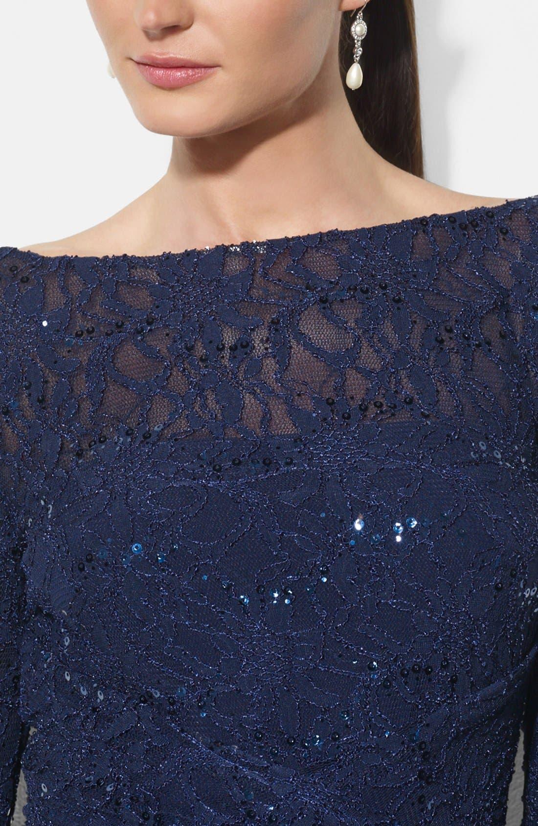 Sequin Lace Gown,                             Alternate thumbnail 3, color,                             400