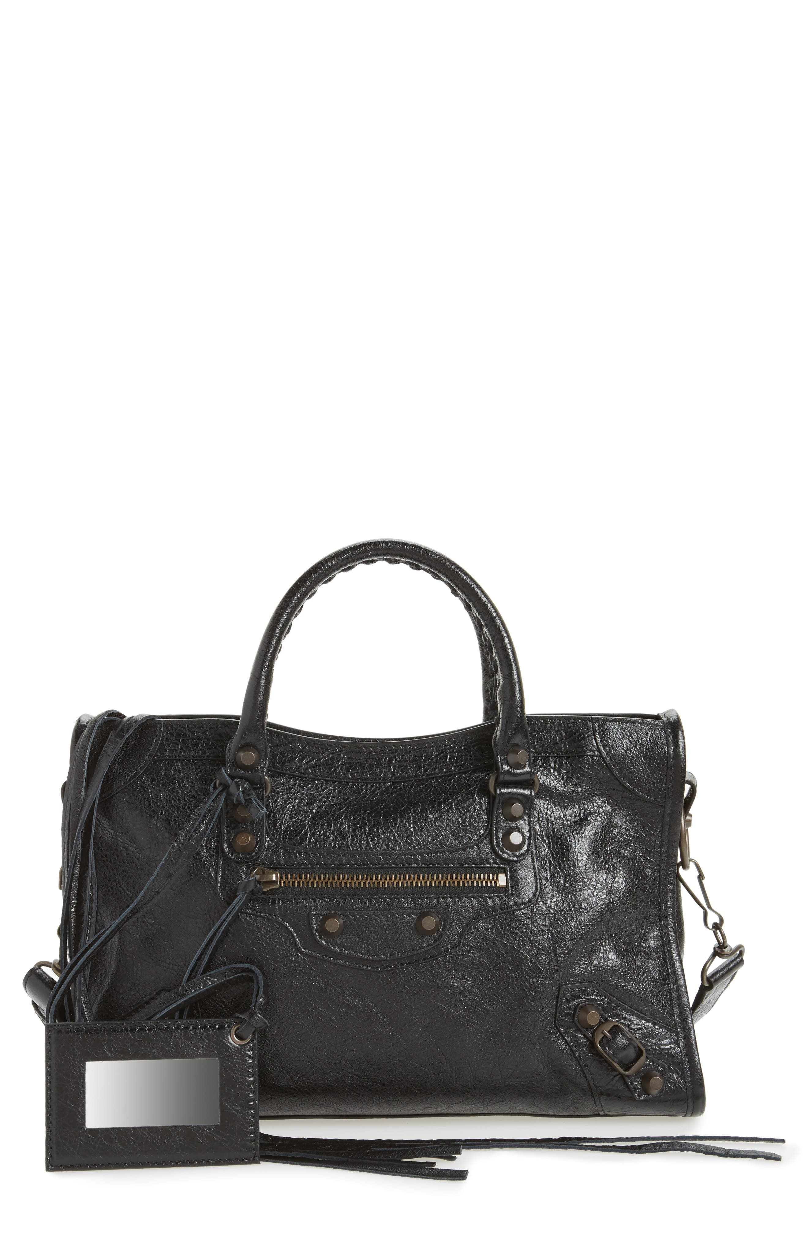 Small Classic City Leather Tote,                             Main thumbnail 1, color,                             1000 NOIR