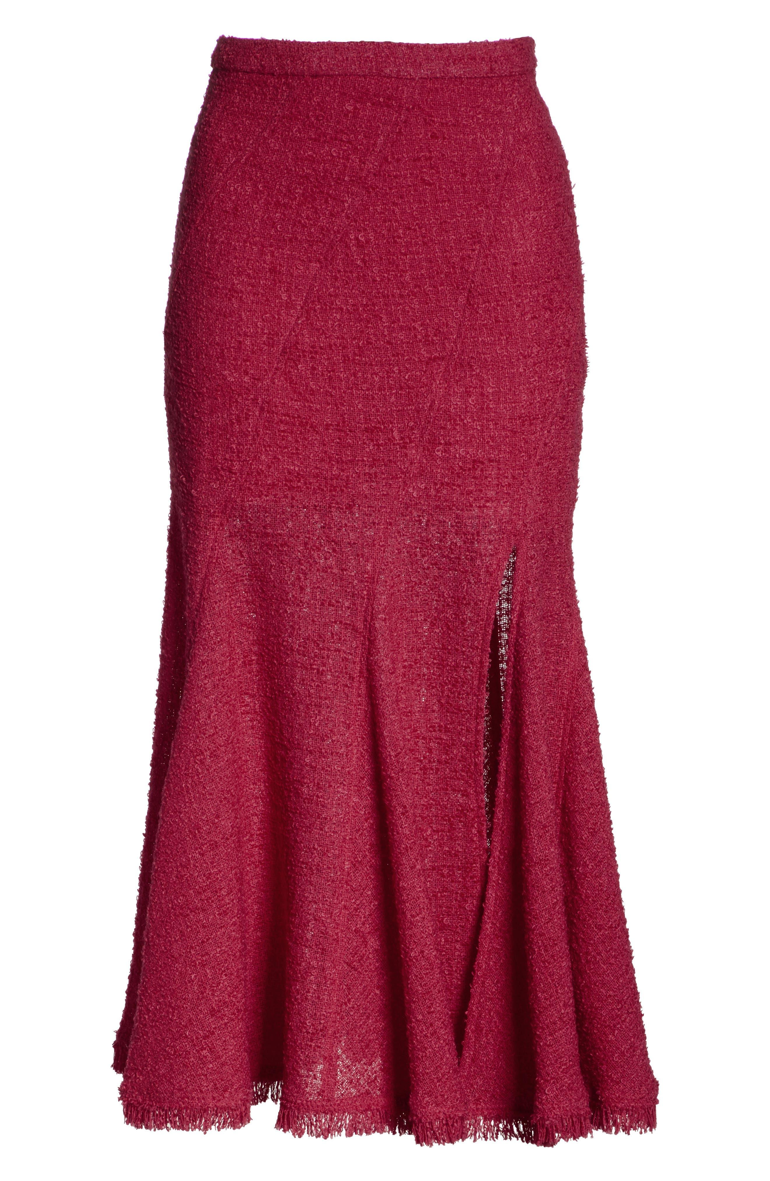Flare Hem Tweed Skirt,                             Alternate thumbnail 6, color,                             607
