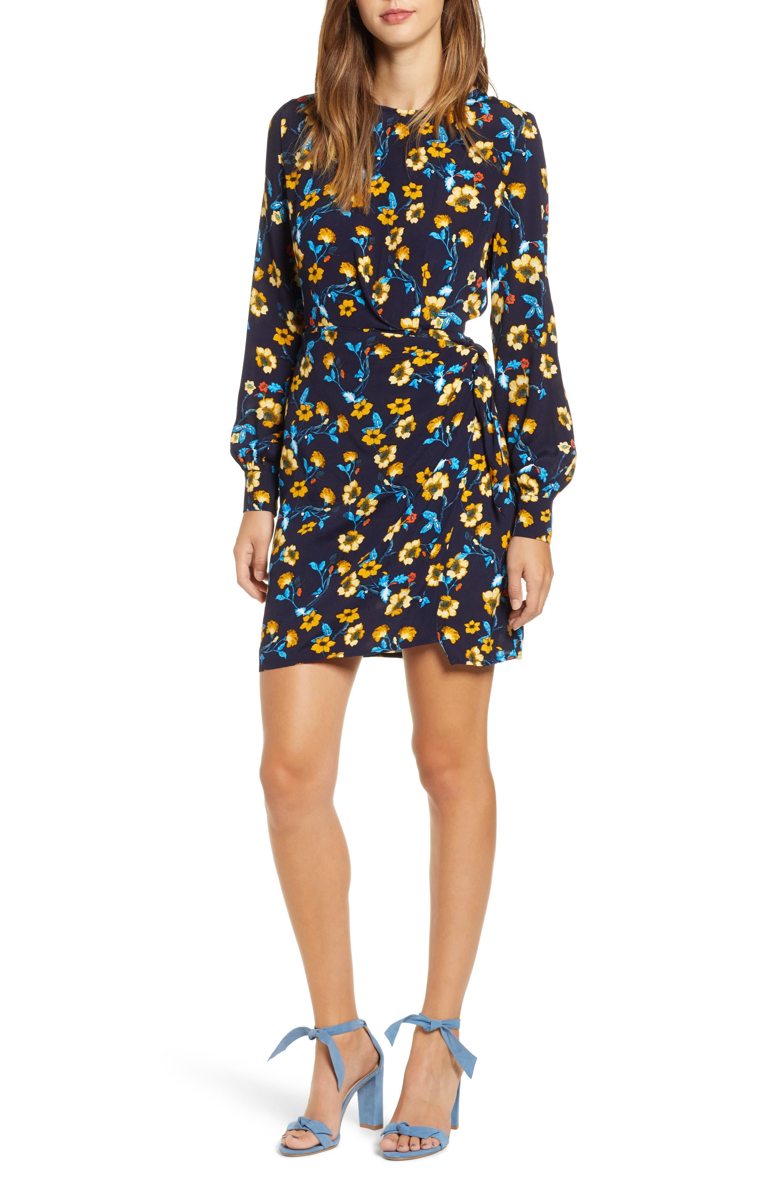 Apron Front Long Sleeve Dress,                         Main,                         color, 400
