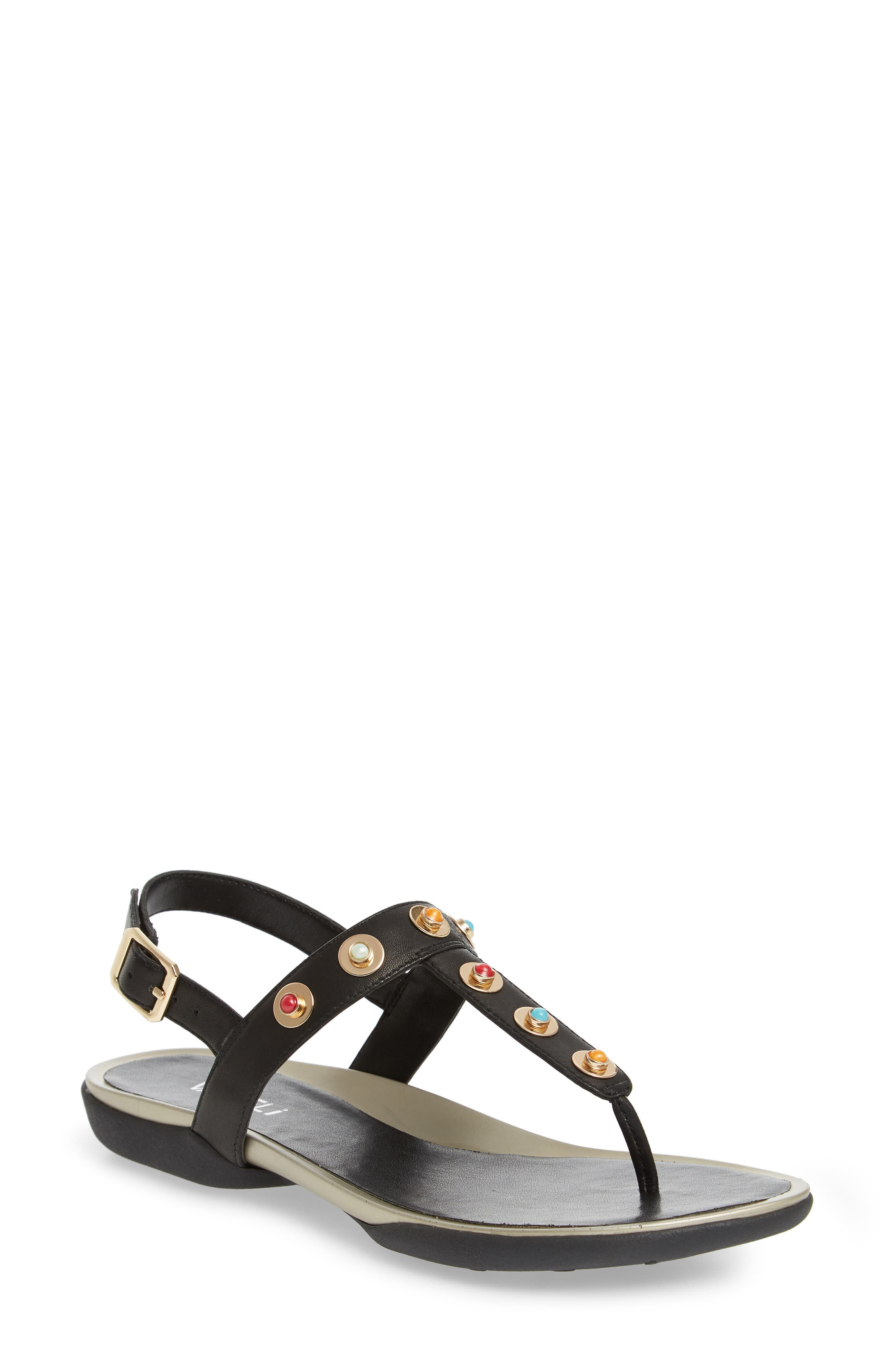 Wally Studded T-Strap Sandal,                         Main,                         color, BLACK LEATHER