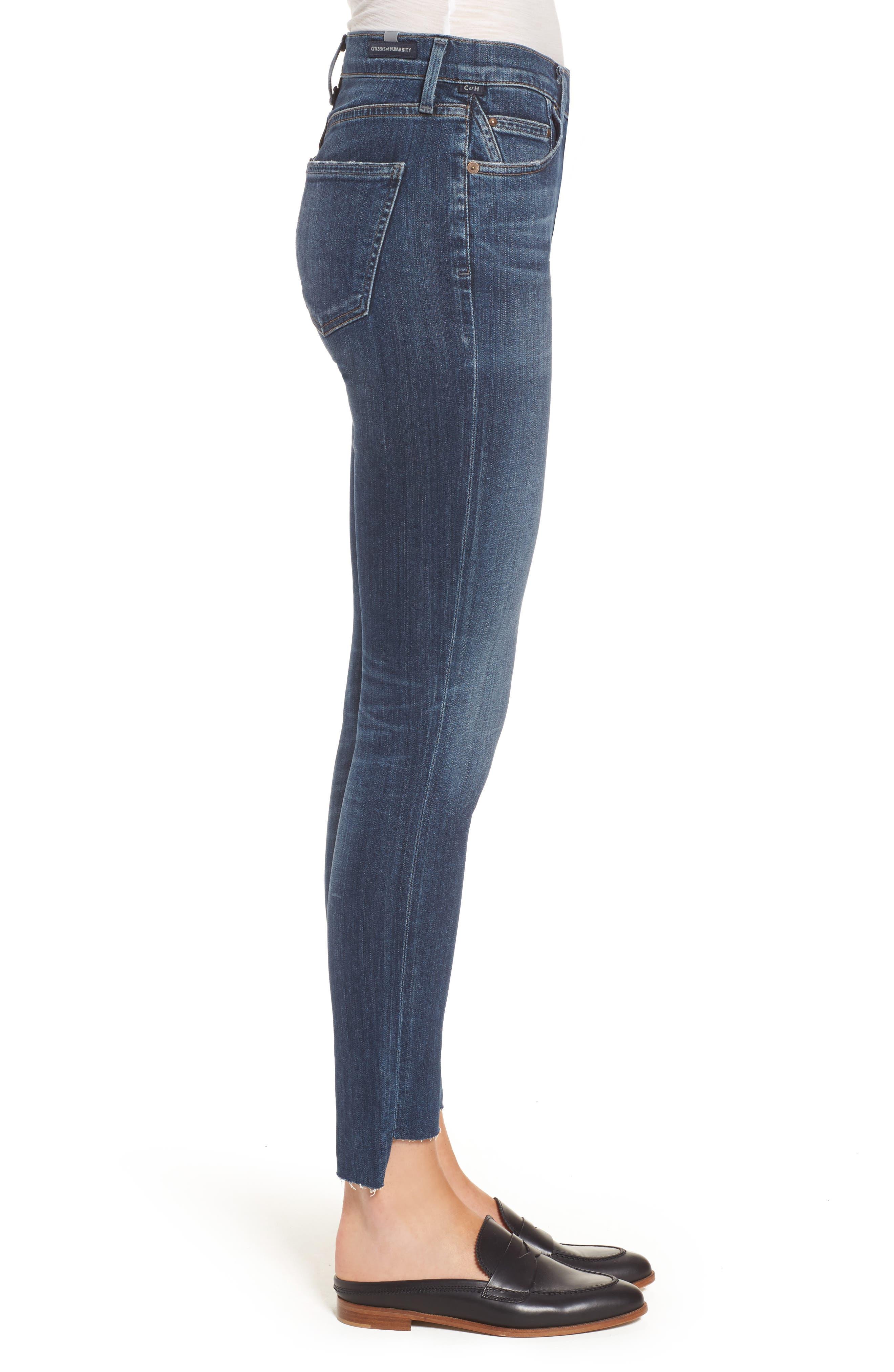 Rocket Step Hem Skinny Jeans,                             Alternate thumbnail 3, color,                             401