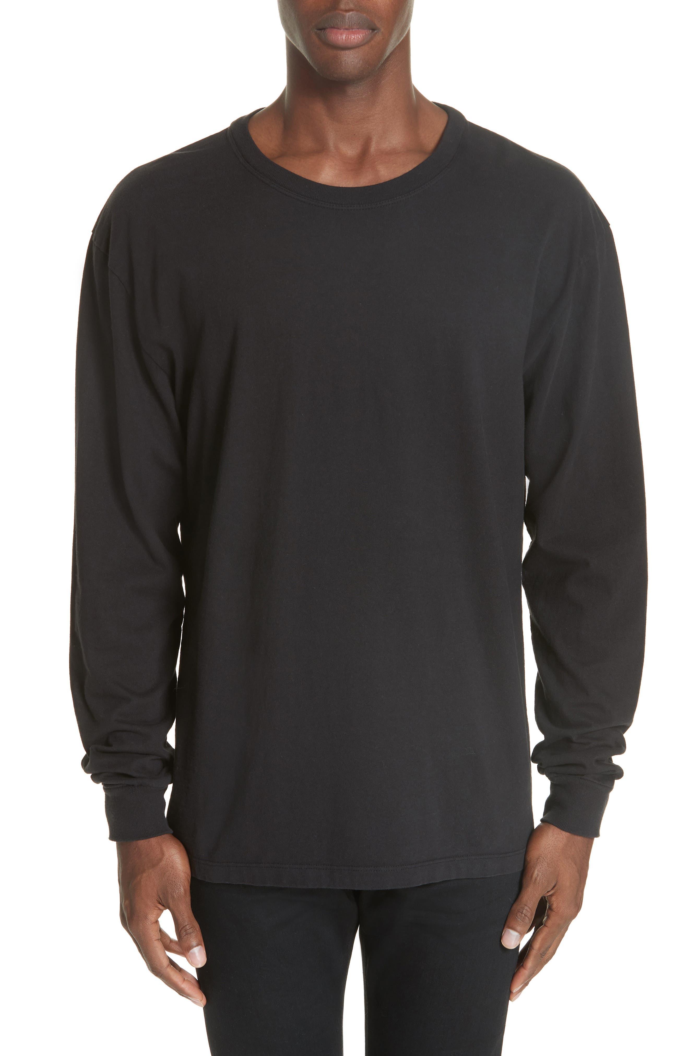 Long Sleeve Crewneck T-Shirt,                         Main,                         color, BLACK