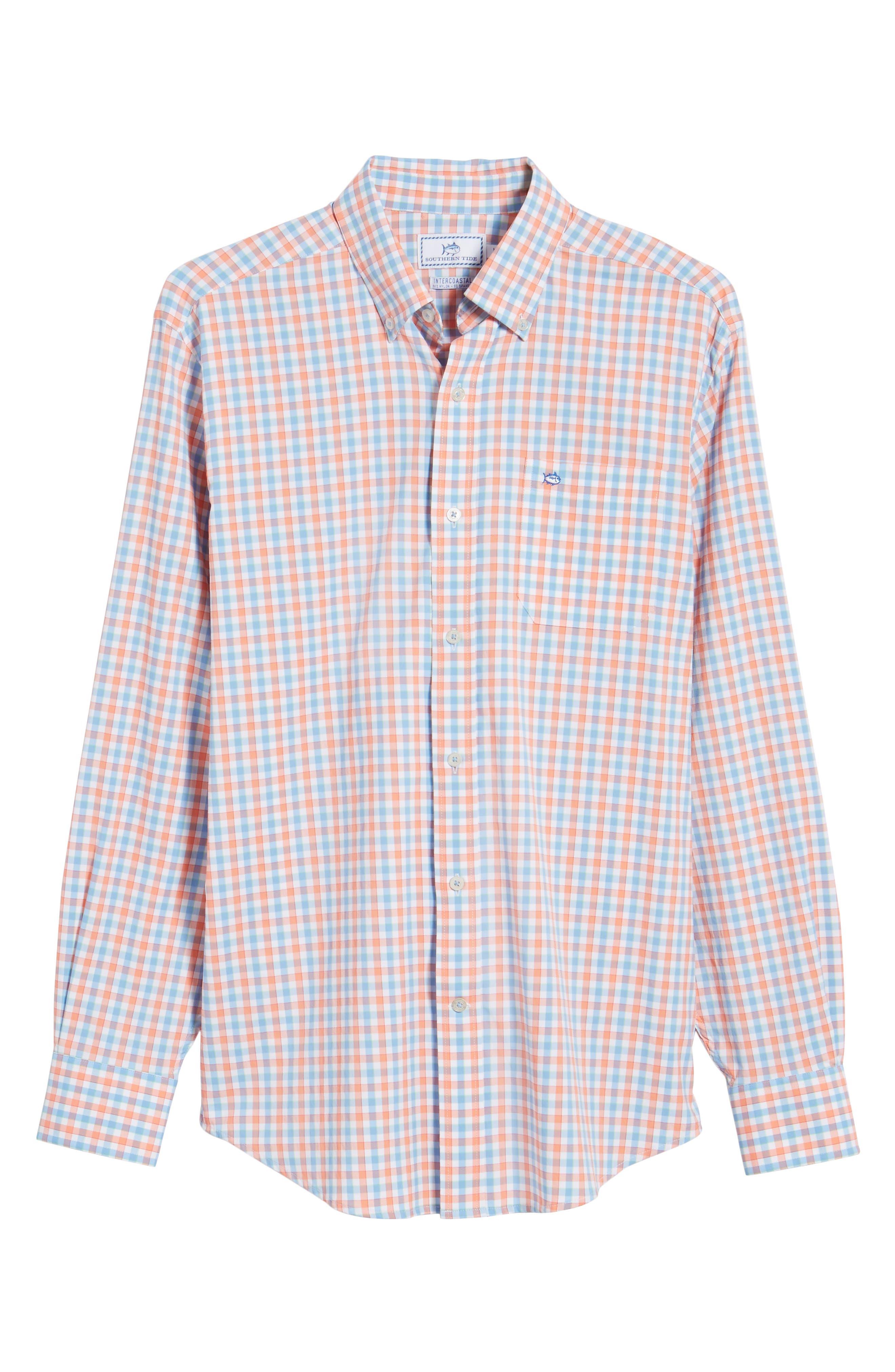 Market Square Regular Fit Stretch Check Sport Shirt,                             Alternate thumbnail 6, color,                             801