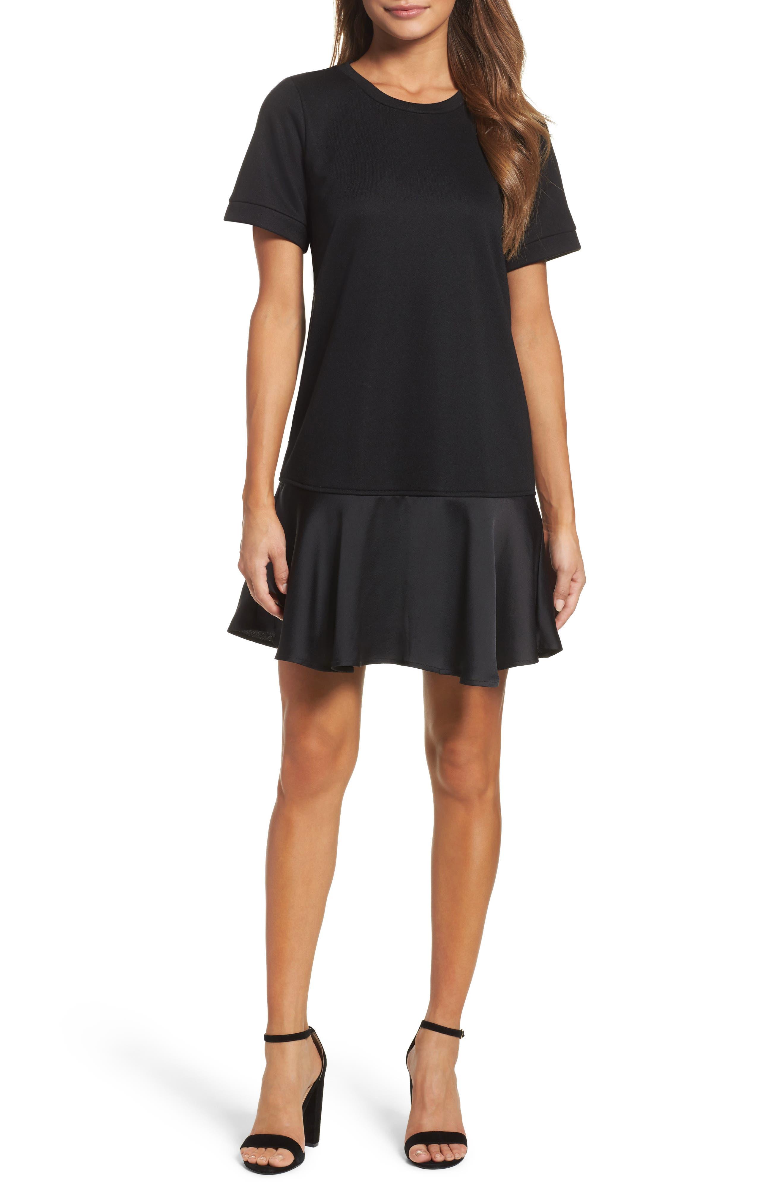 CHELSEA28 Ruffle Hem Sweatshirt Dress, Main, color, 001