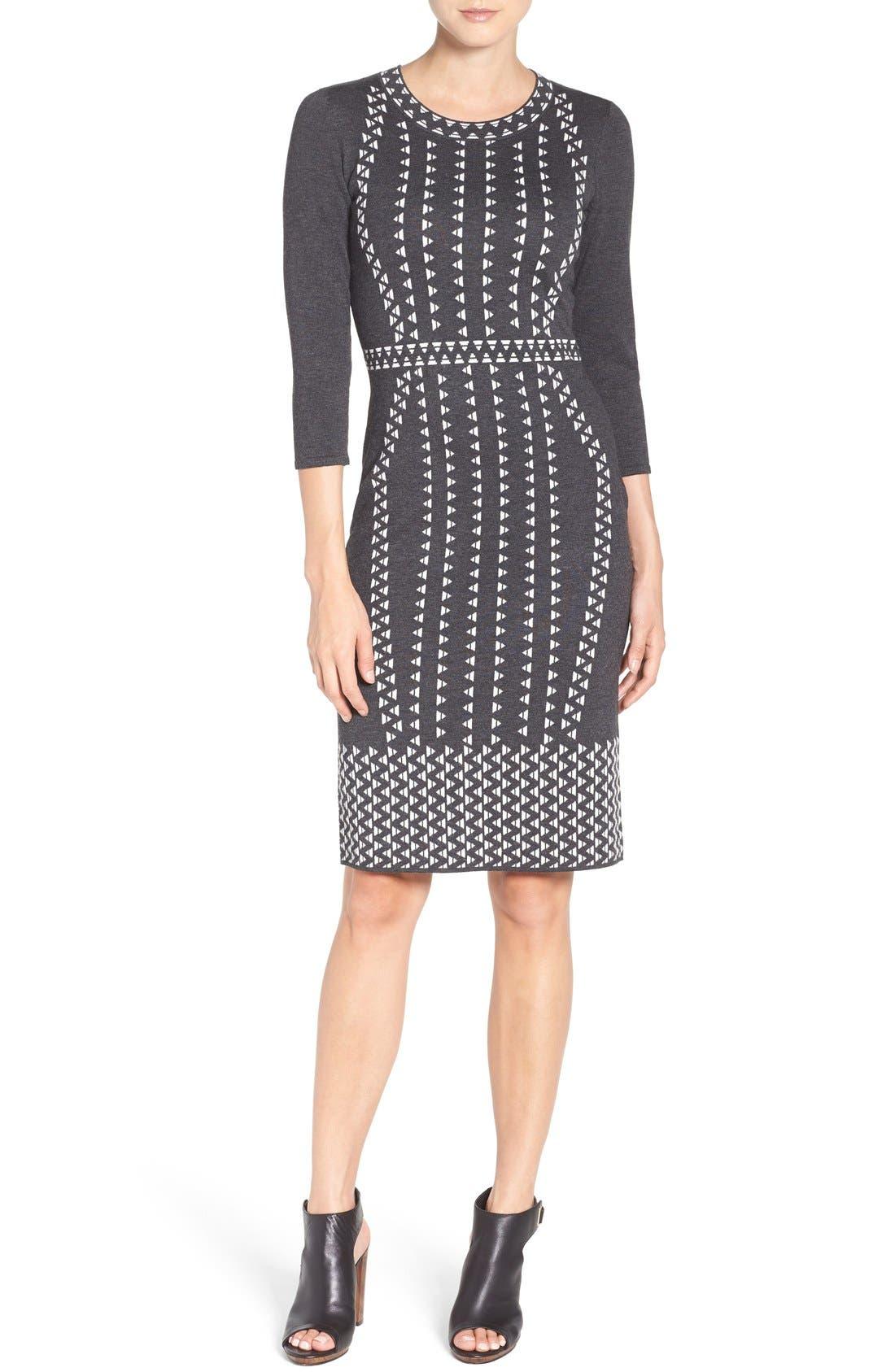 TAYLOR DRESSES,                             Sweater Sheath Dress,                             Alternate thumbnail 5, color,                             021