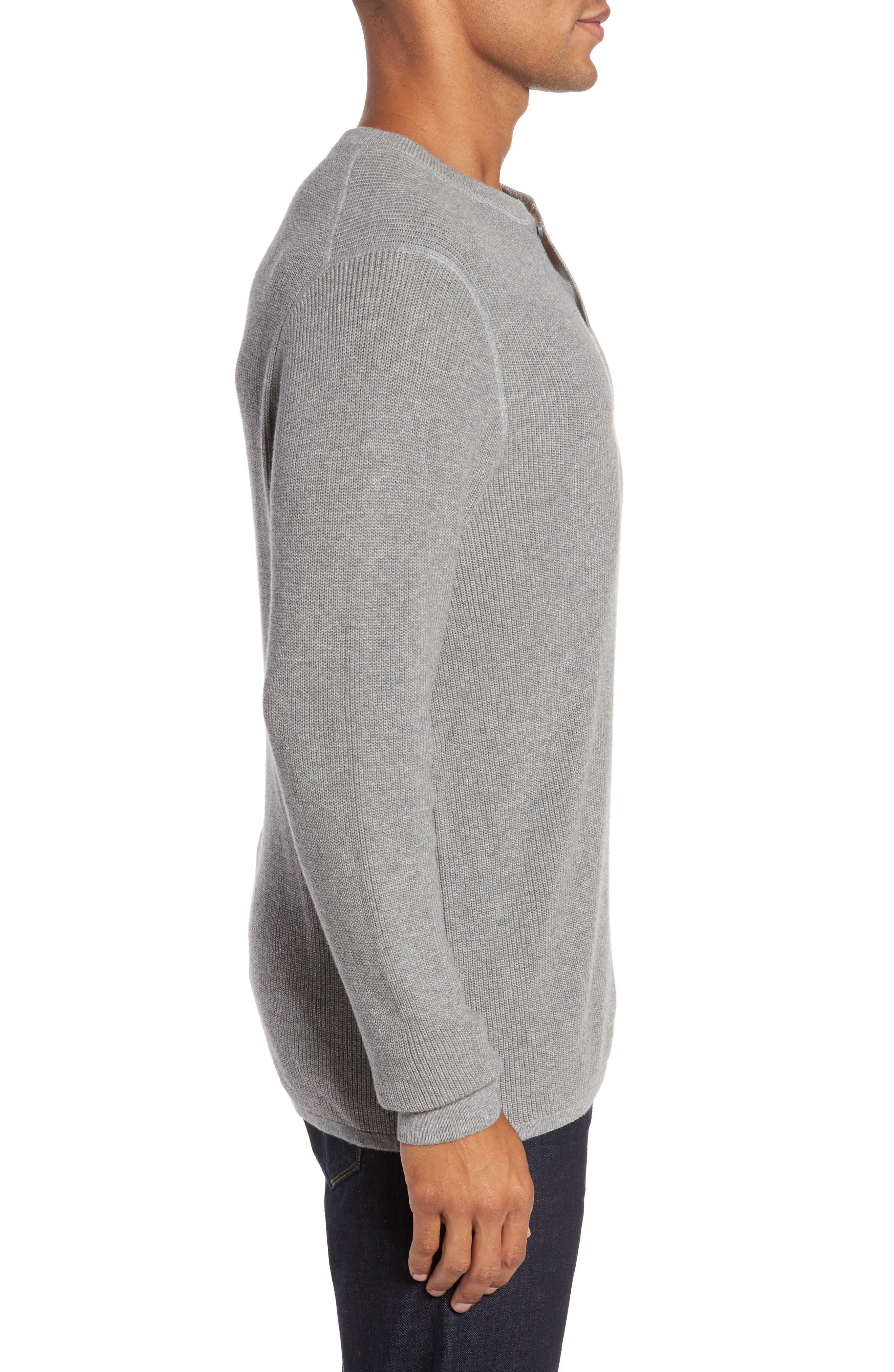 Cotton & Cashmere Henley Sweater,                             Alternate thumbnail 3, color,                             030