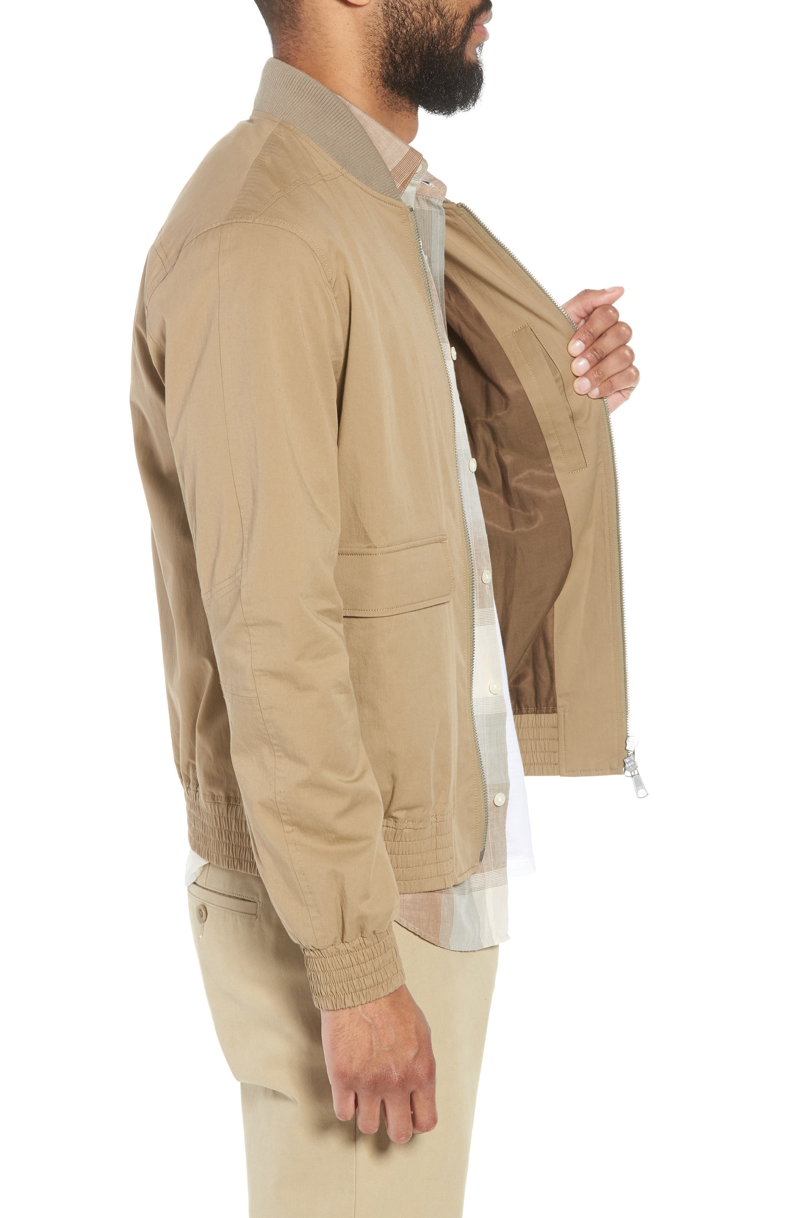 Regular Fit Bomber Jacket,                             Alternate thumbnail 3, color,                             STONE KHAKI