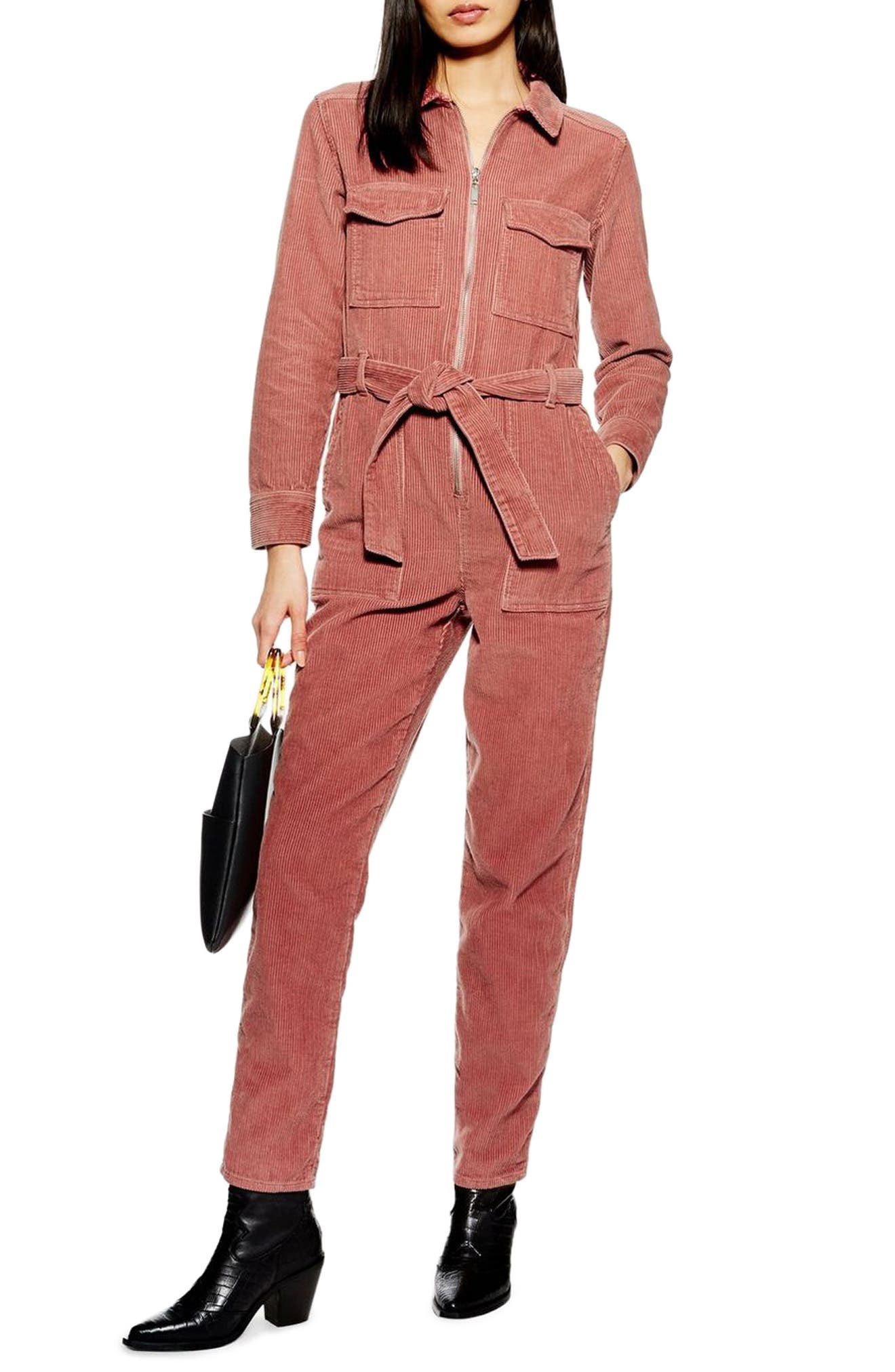 TOPSHOP Corduroy Boilersuit, Main, color, PINK