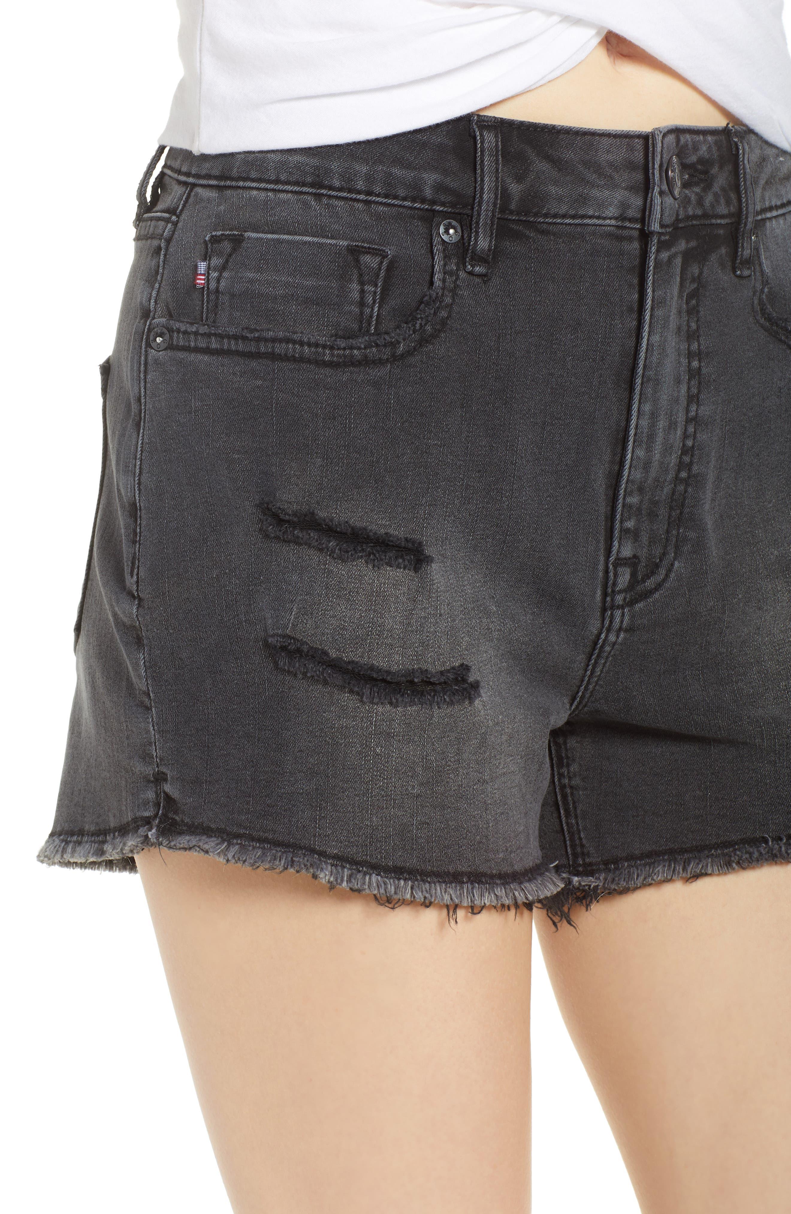 Jagger High Waist Denim Shorts,                             Alternate thumbnail 4, color,                             001