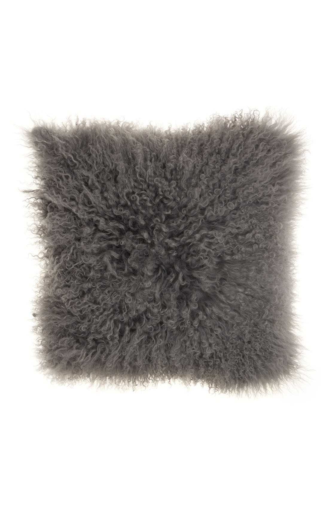 Genuine Tibetan Wool Shearling Pillow,                             Main thumbnail 1, color,                             SILVER/ GREY