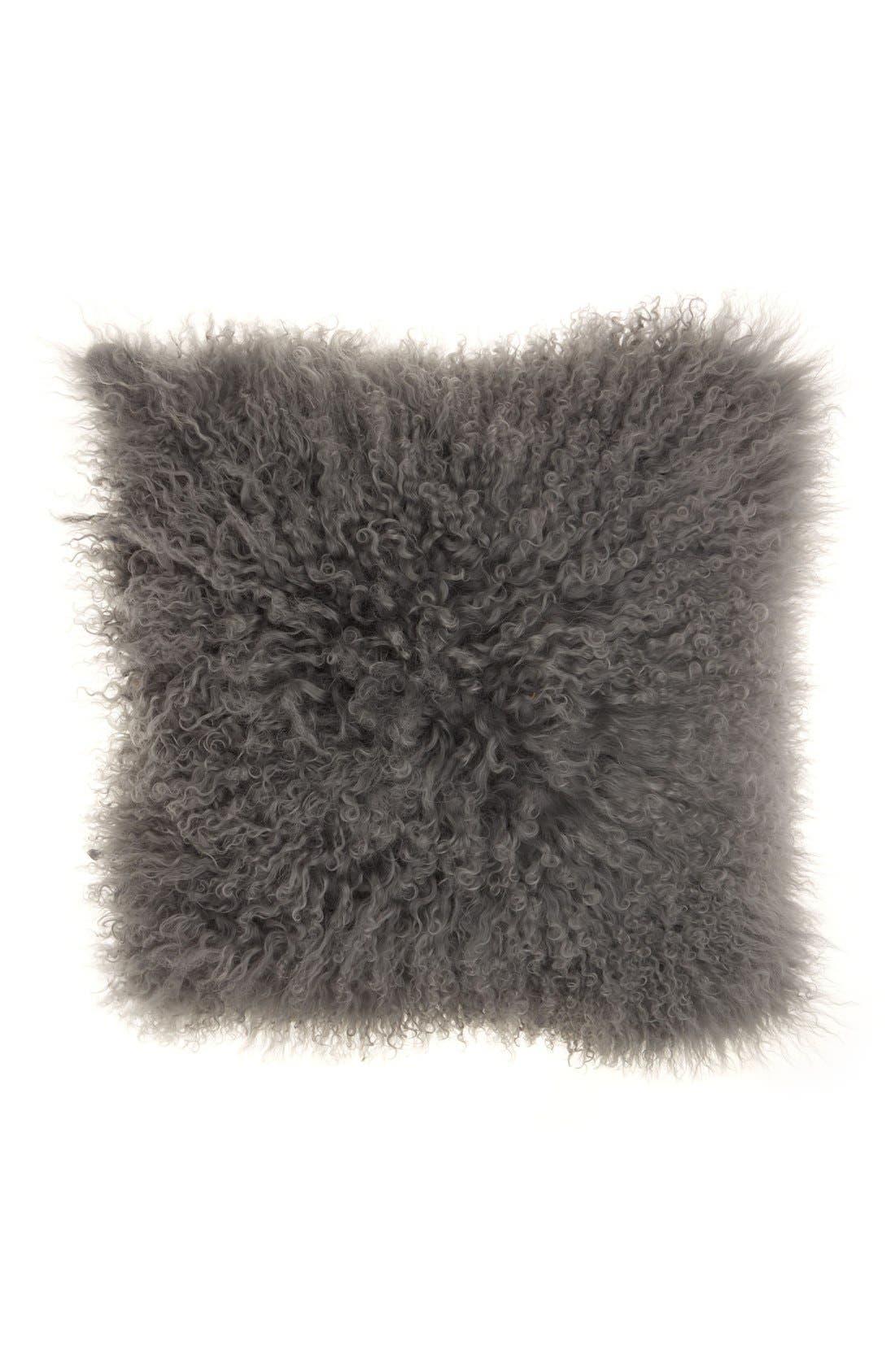 Genuine Tibetan Wool Shearling Pillow,                         Main,                         color, SILVER/ GREY