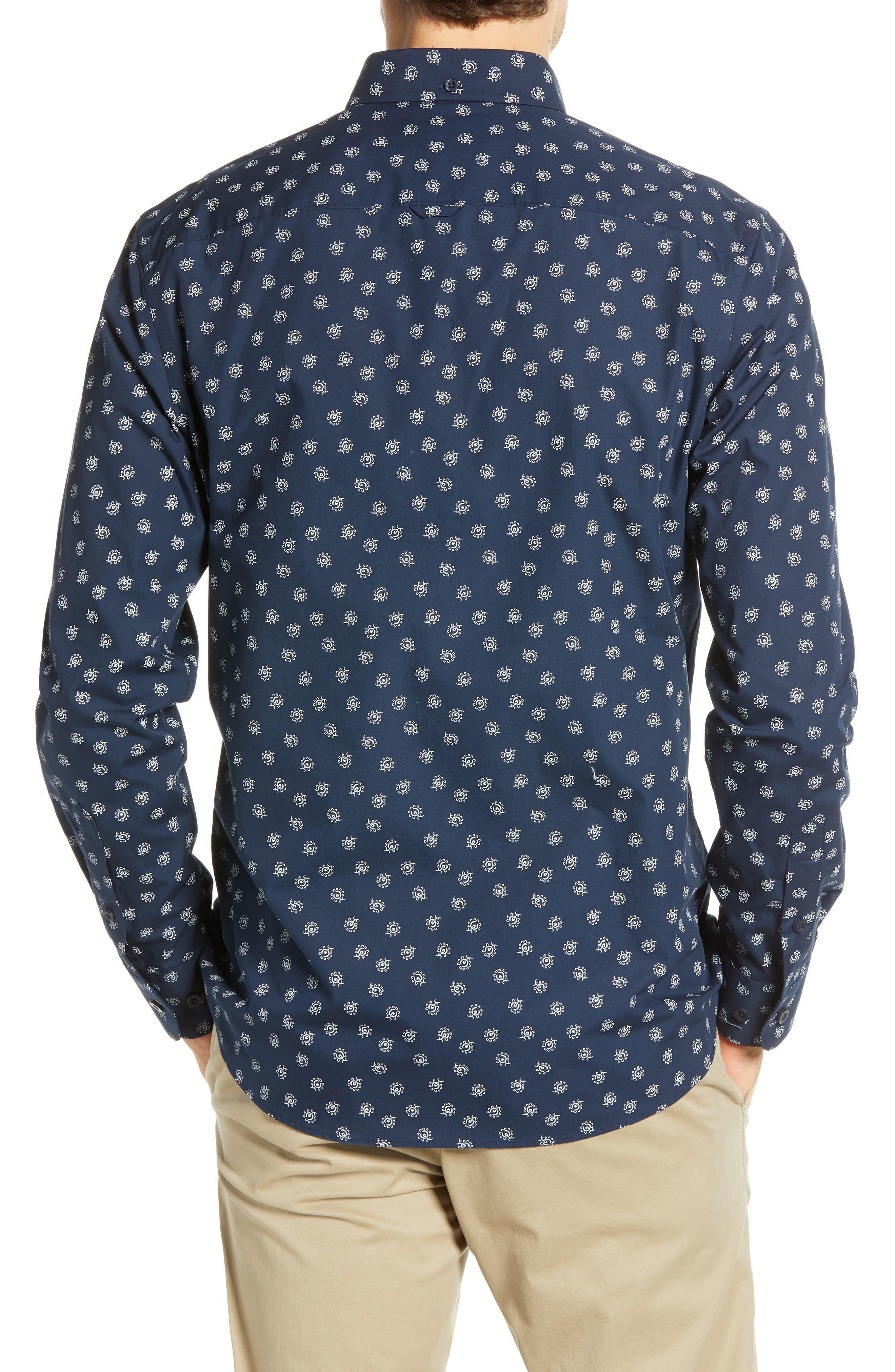 Floral Print Sport Shirt,                             Alternate thumbnail 3, color,                             NAVY IRIS FLORAL PRINT