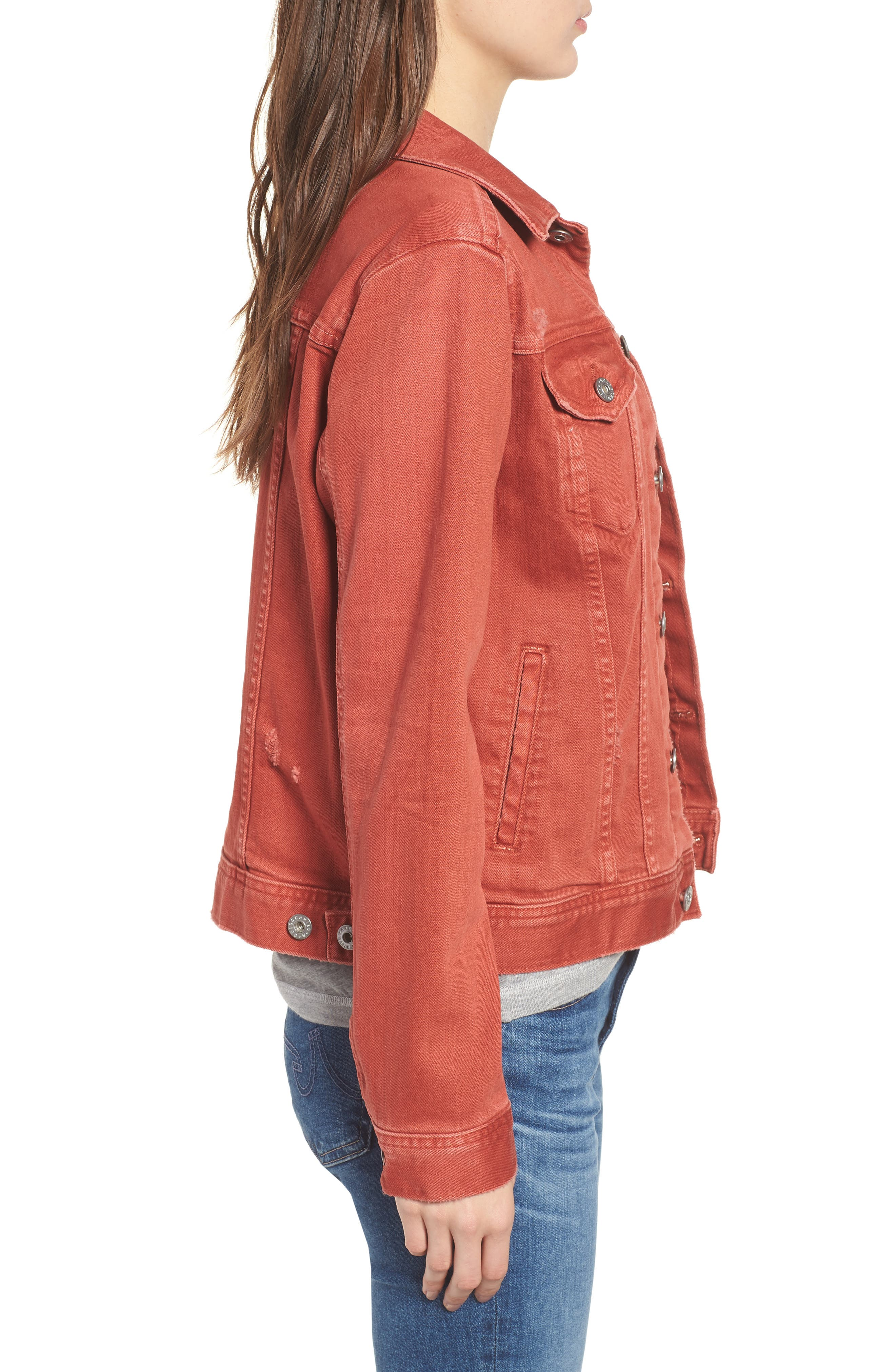 Mya Denim Jacket,                             Alternate thumbnail 3, color,                             10 YEARS REMEDY FIREBRICK