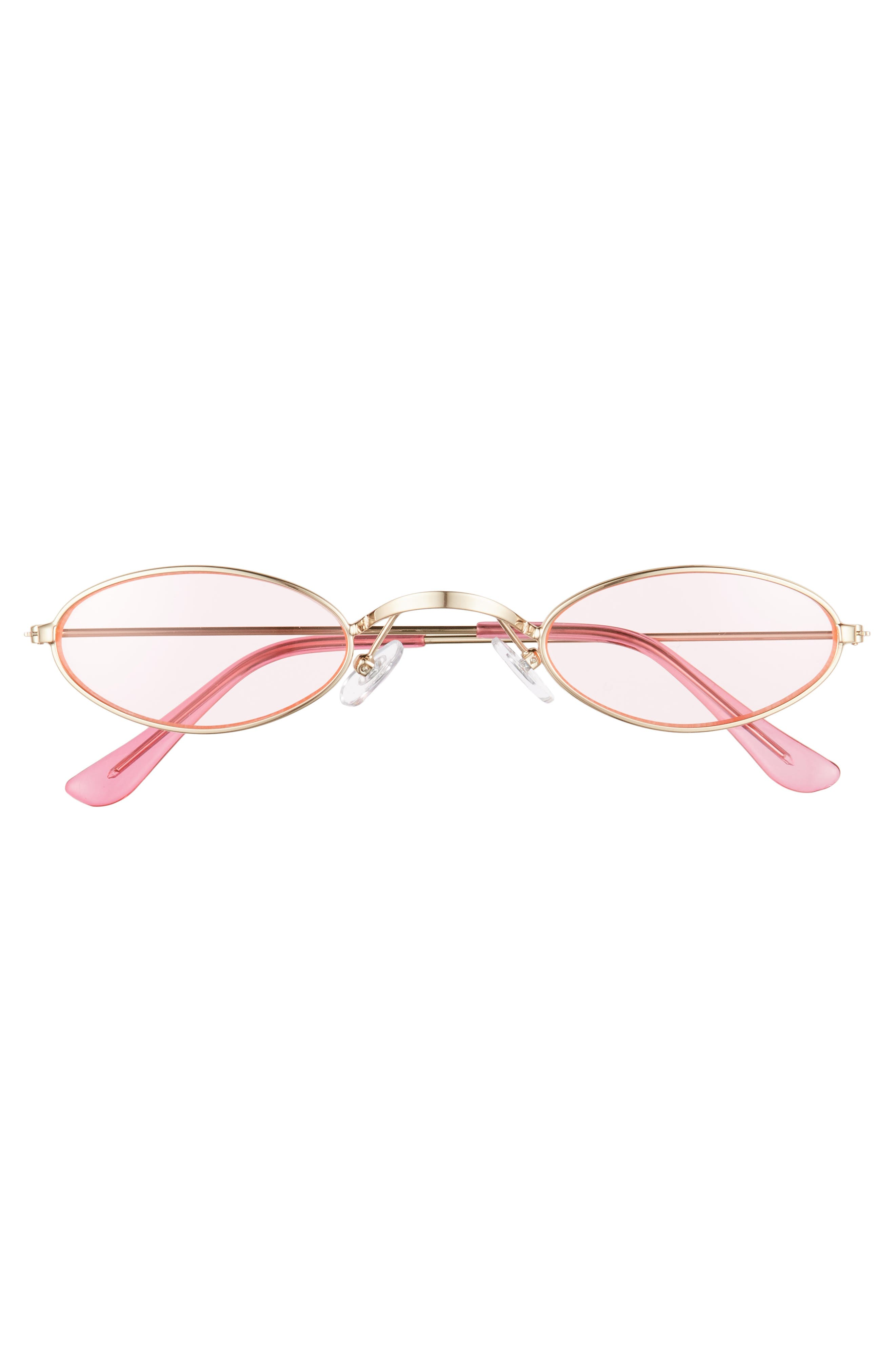 48mm Mini Wide Oval Metal Sunglasses,                             Alternate thumbnail 3, color,                             PINK/ GOLD