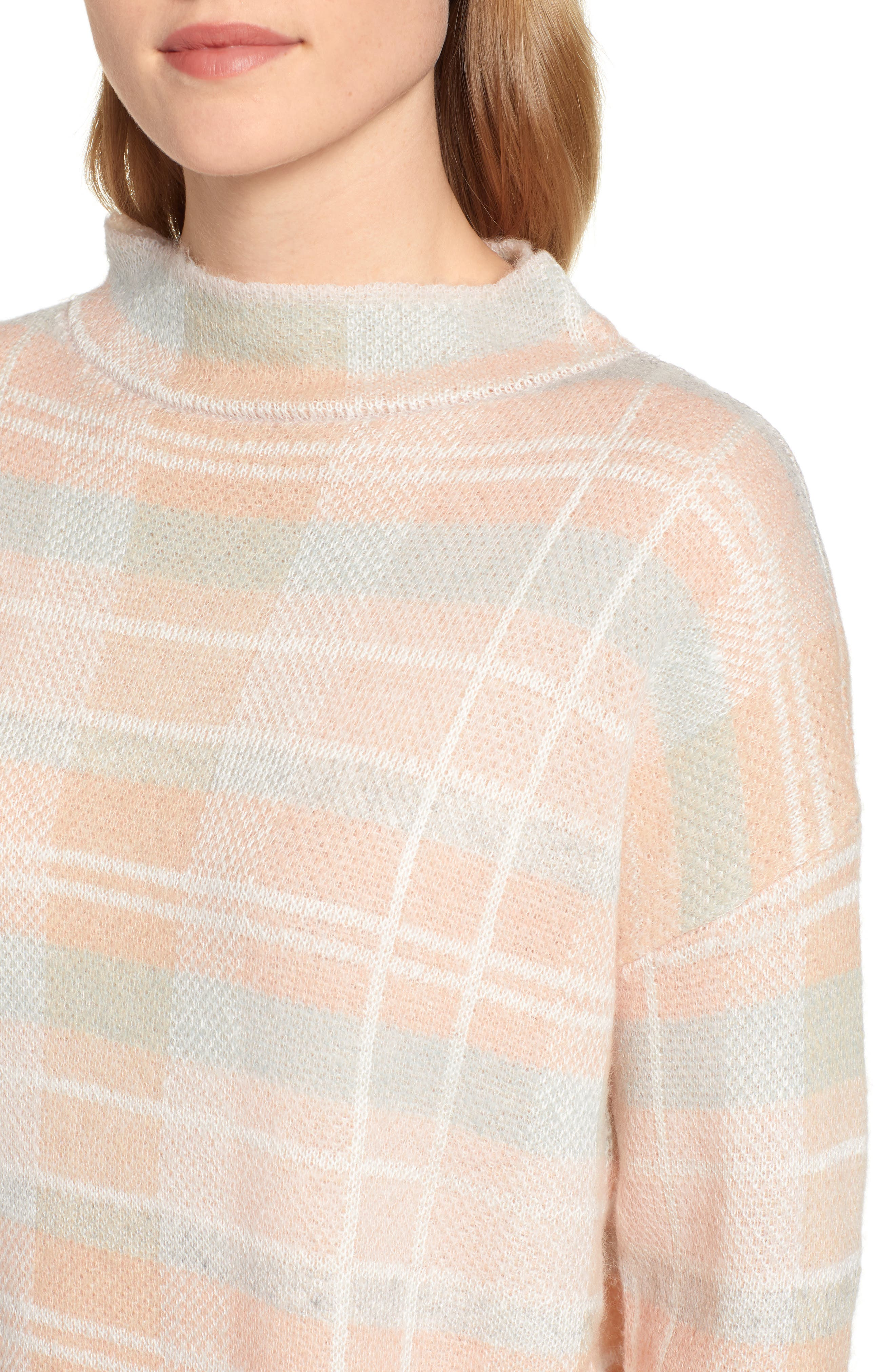 Plaid Mock Neck Sweater,                             Alternate thumbnail 4, color,                             PINK PLAID AS SWATCH