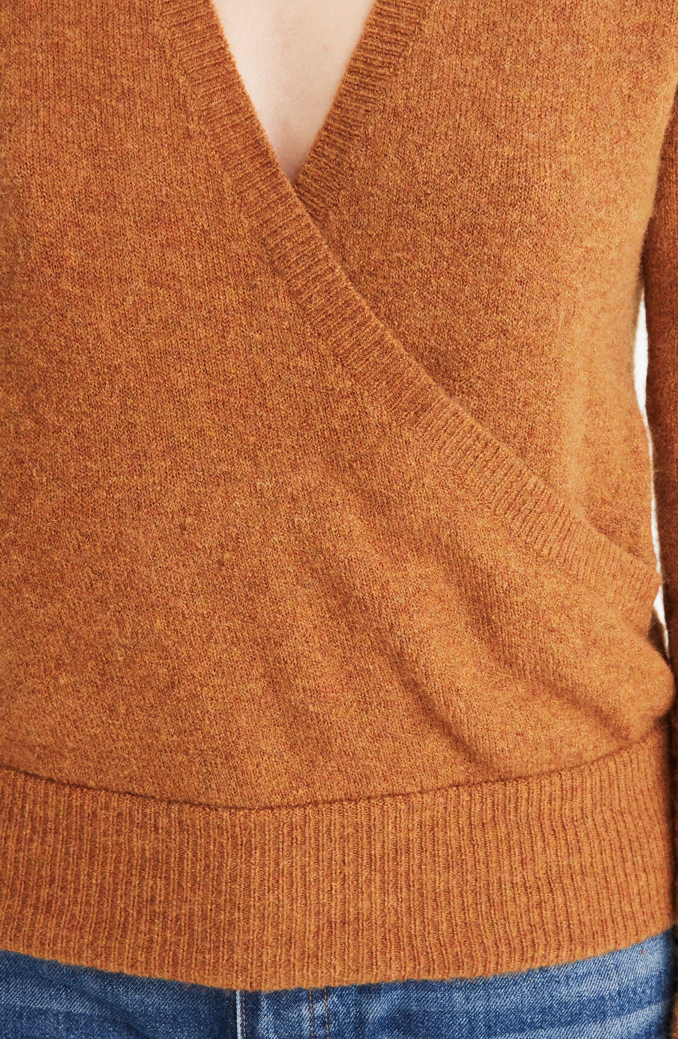 Faux Wrap Pullover Sweater,                             Alternate thumbnail 4, color,                             HEATHER HARVEST