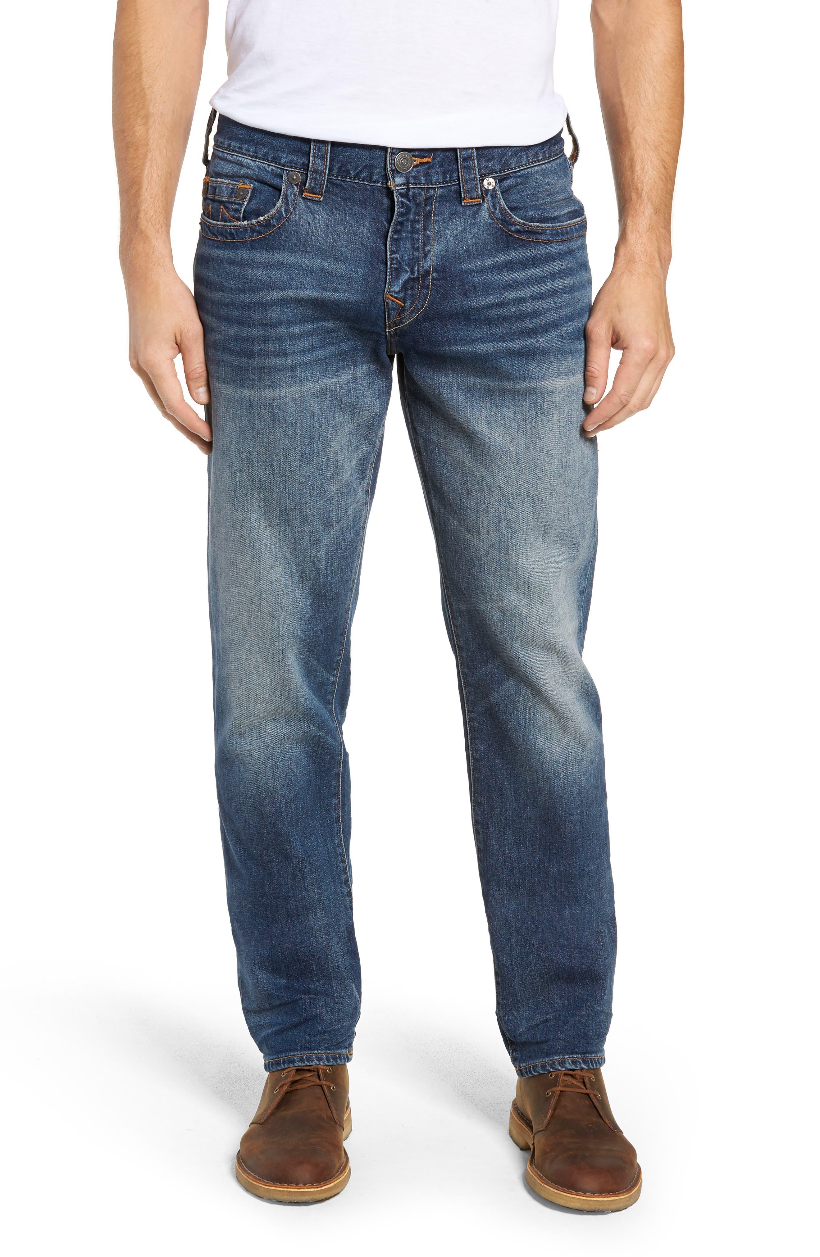 Geno Slim Straight Leg Jeans,                             Main thumbnail 1, color,                             JETSET BLUE