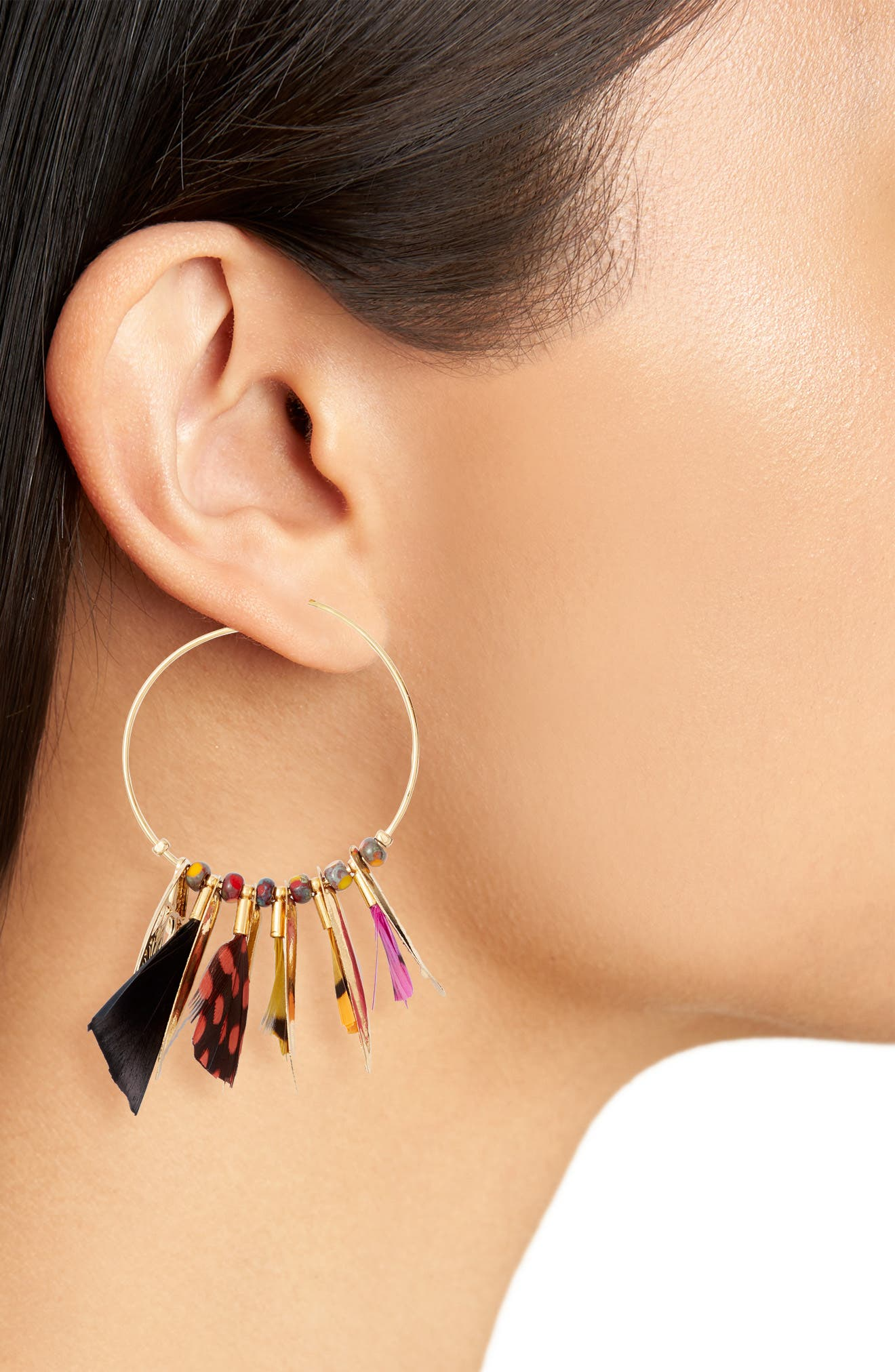Small Marly Feather Hoop Earrings,                             Alternate thumbnail 2, color,                             BLACK MULTI