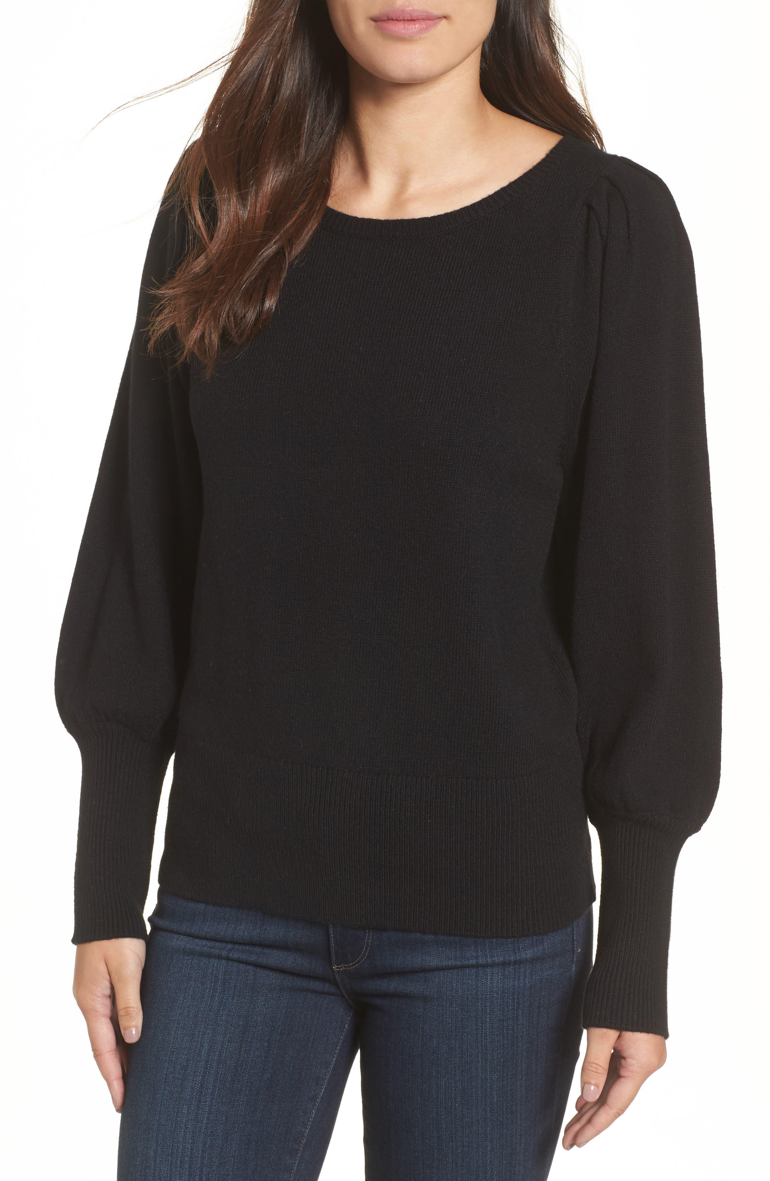 Bateau Neck Blouson Sleeve Sweater,                         Main,                         color, 001