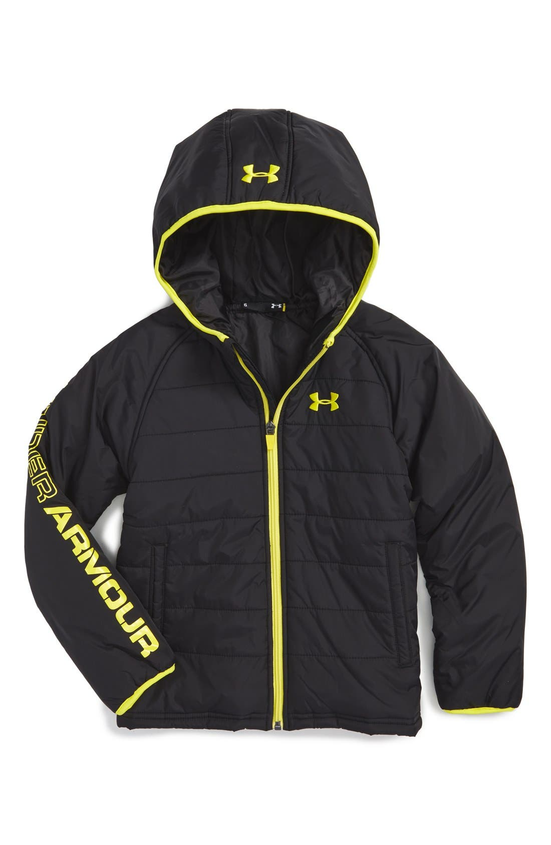 UNDER ARMOUR 'Hudson' Quilted Jacket, Main, color, 001