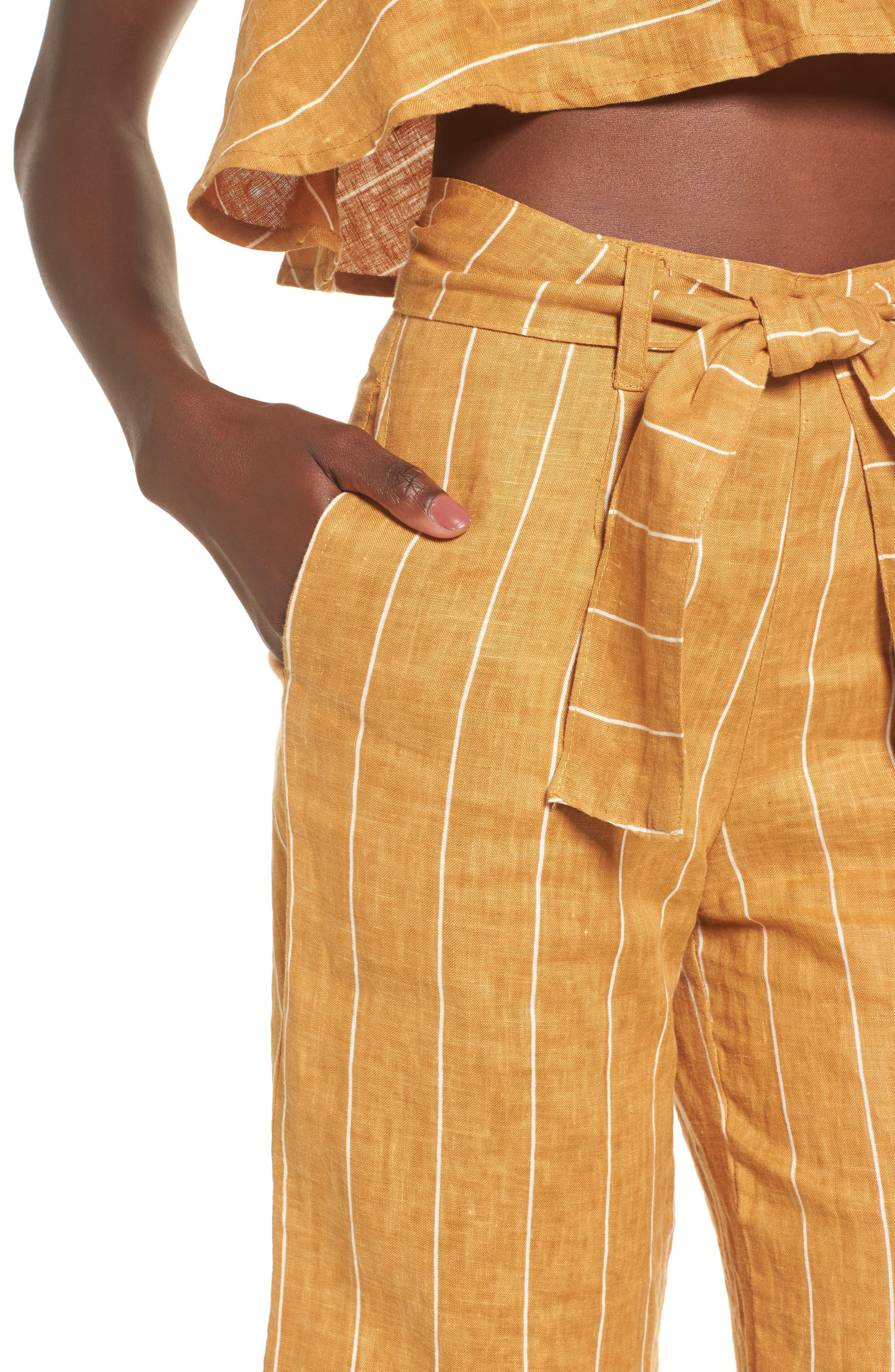 Como Wide Leg Crop Linen Pants,                             Alternate thumbnail 4, color,                             COPENHAGEN STRIPE