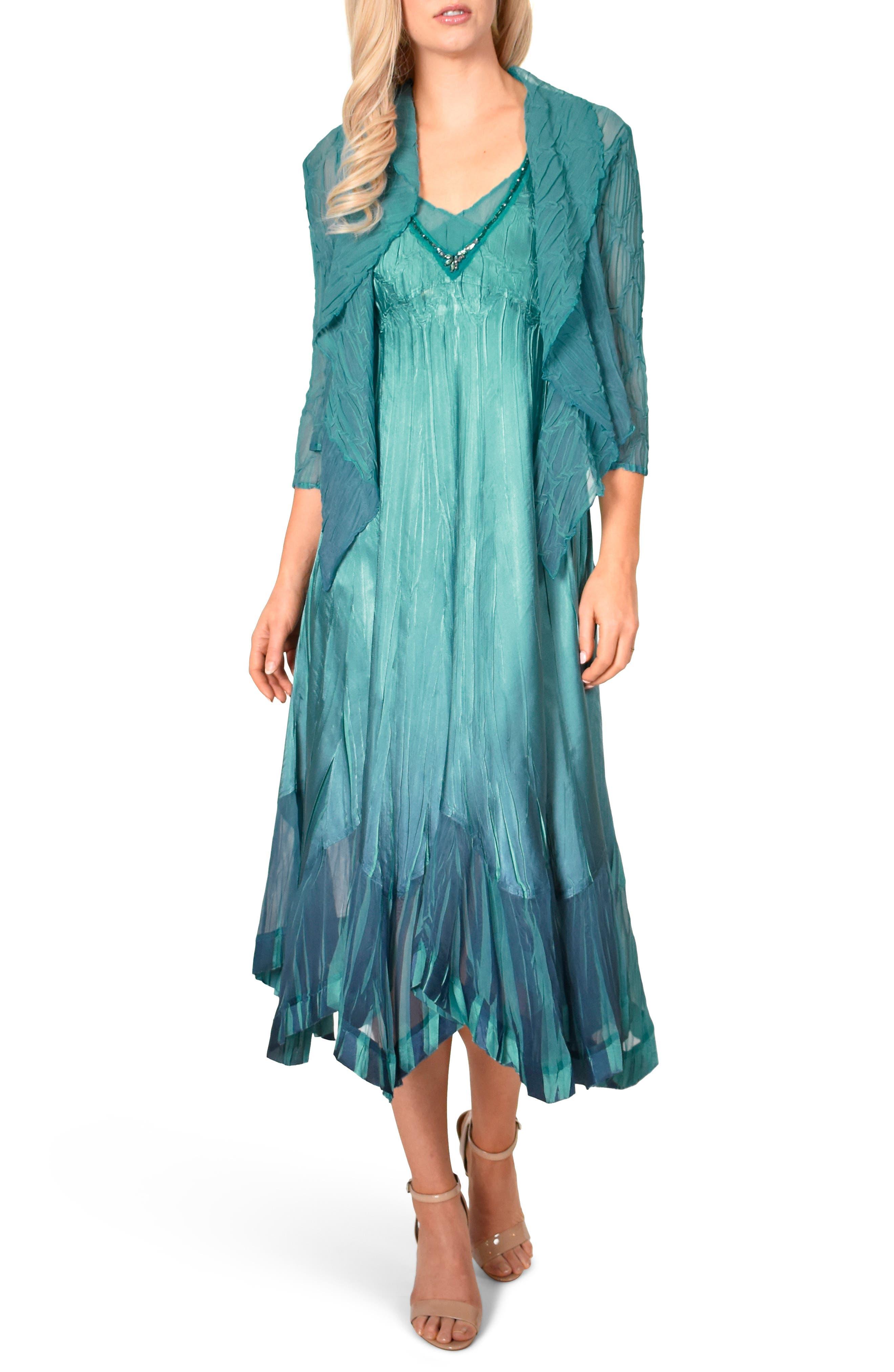 Vintage Cocktail Dresses, Party Dresses, Prom Dresses Womens Komarov Embellished Midi Dress With Jacket Size X-Large - Blue $448.00 AT vintagedancer.com