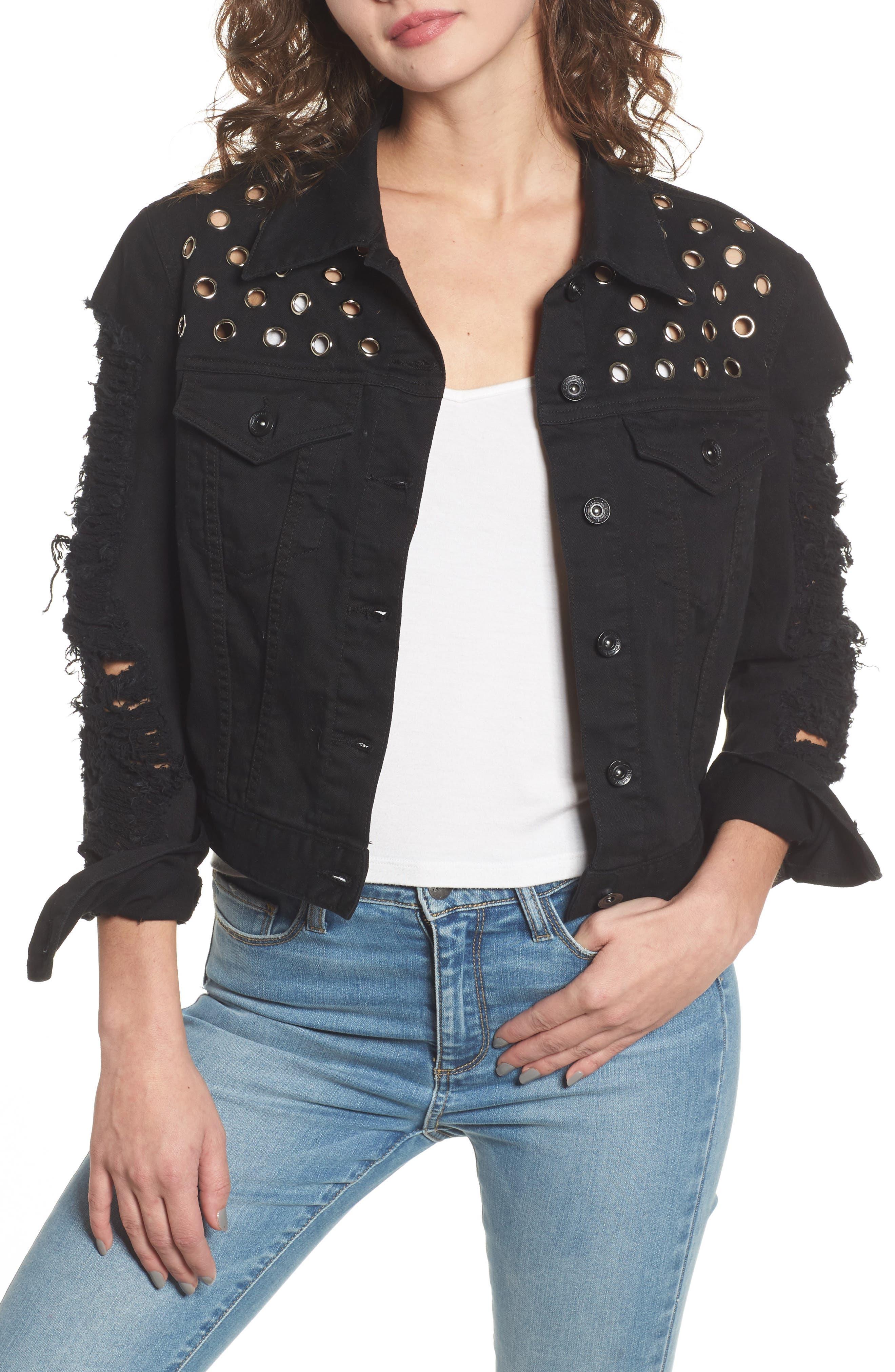 Distressed Crop Denim Jacket,                         Main,                         color,