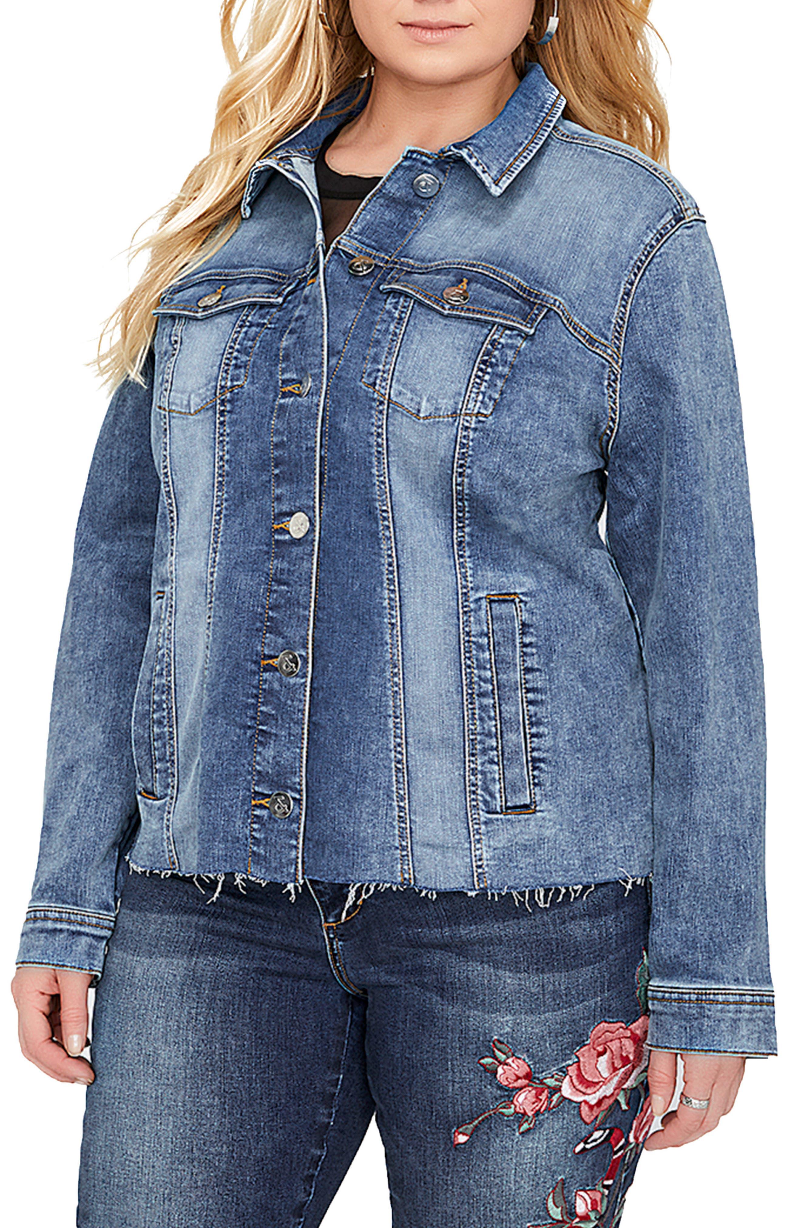 Ruffle Denim Jacket,                         Main,                         color, 461