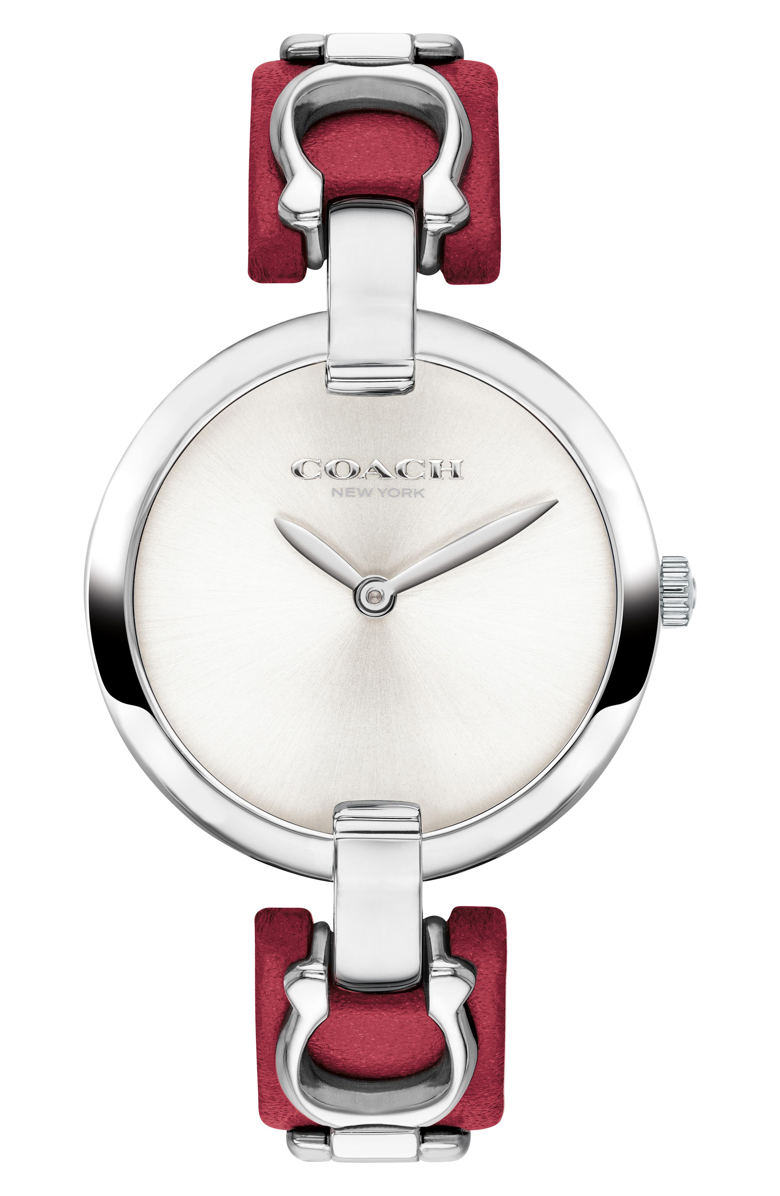 Chrystie Leather Strap Watch, 32mm,                         Main,                         color, RED/ SILVER