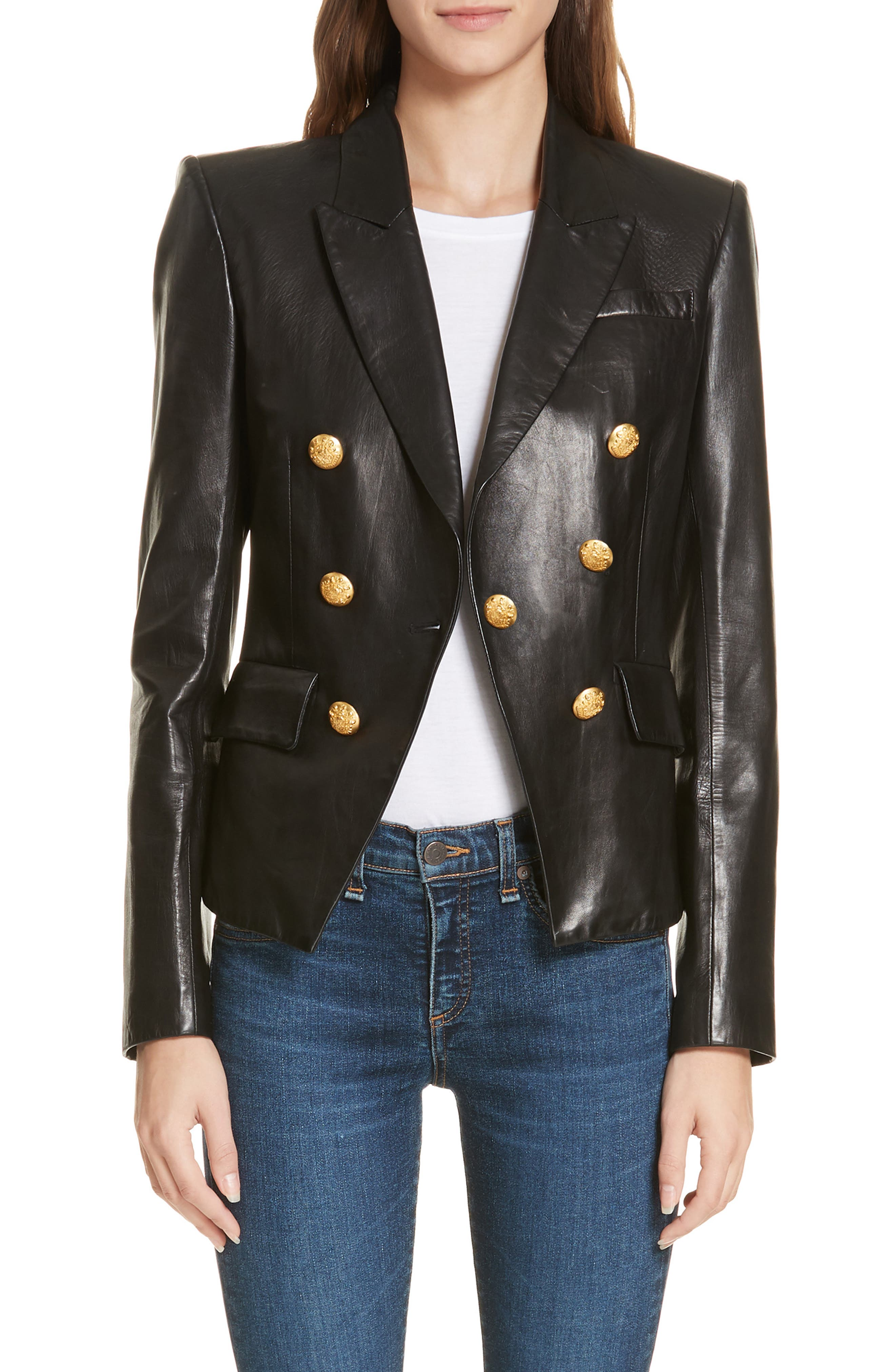 Cooke Leather Dickey Jacket,                         Main,                         color, BLACK