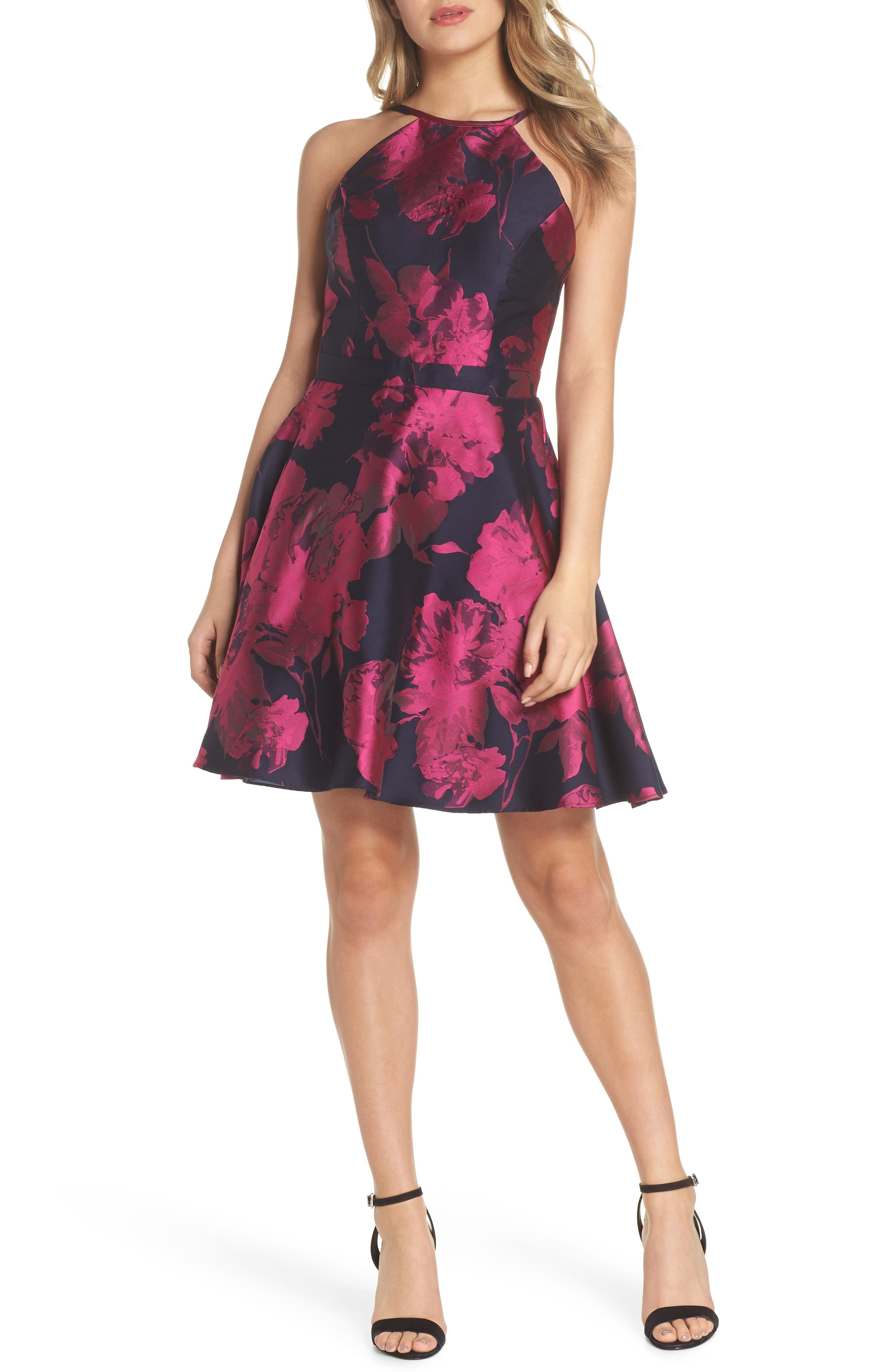 Floral Brocade Fit & Flare Dress,                         Main,                         color, NAVY/ FUCHSIA
