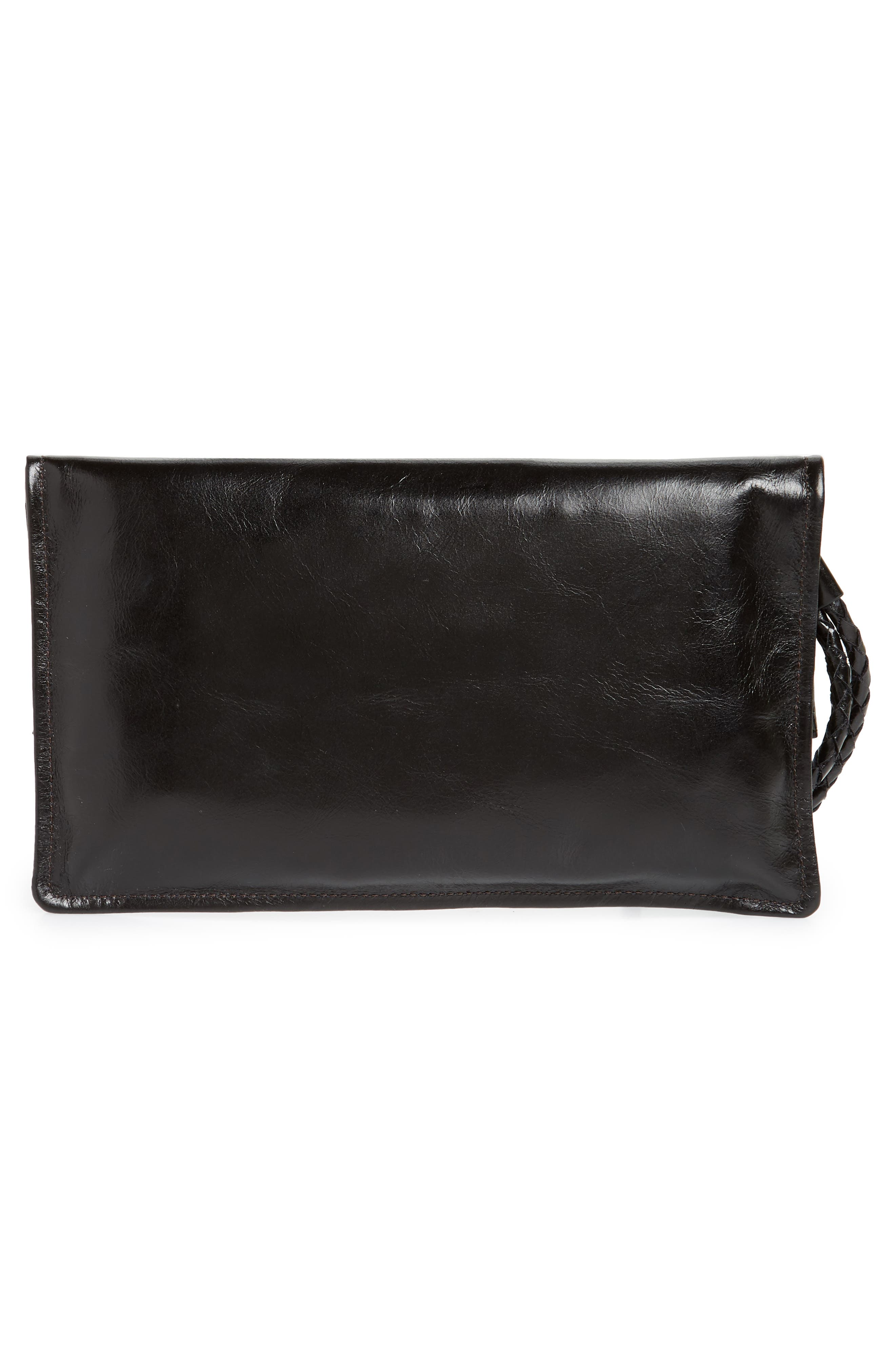 Arbor Leather Wristlet Clutch,                             Alternate thumbnail 3, color,                             001