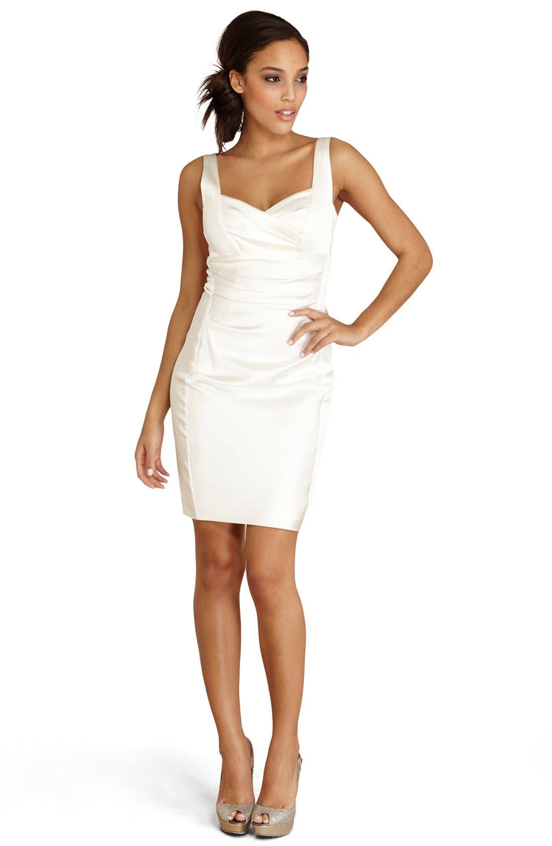 DONNA MORGAN Ruched Satin Sheath Dress, Main, color, 900
