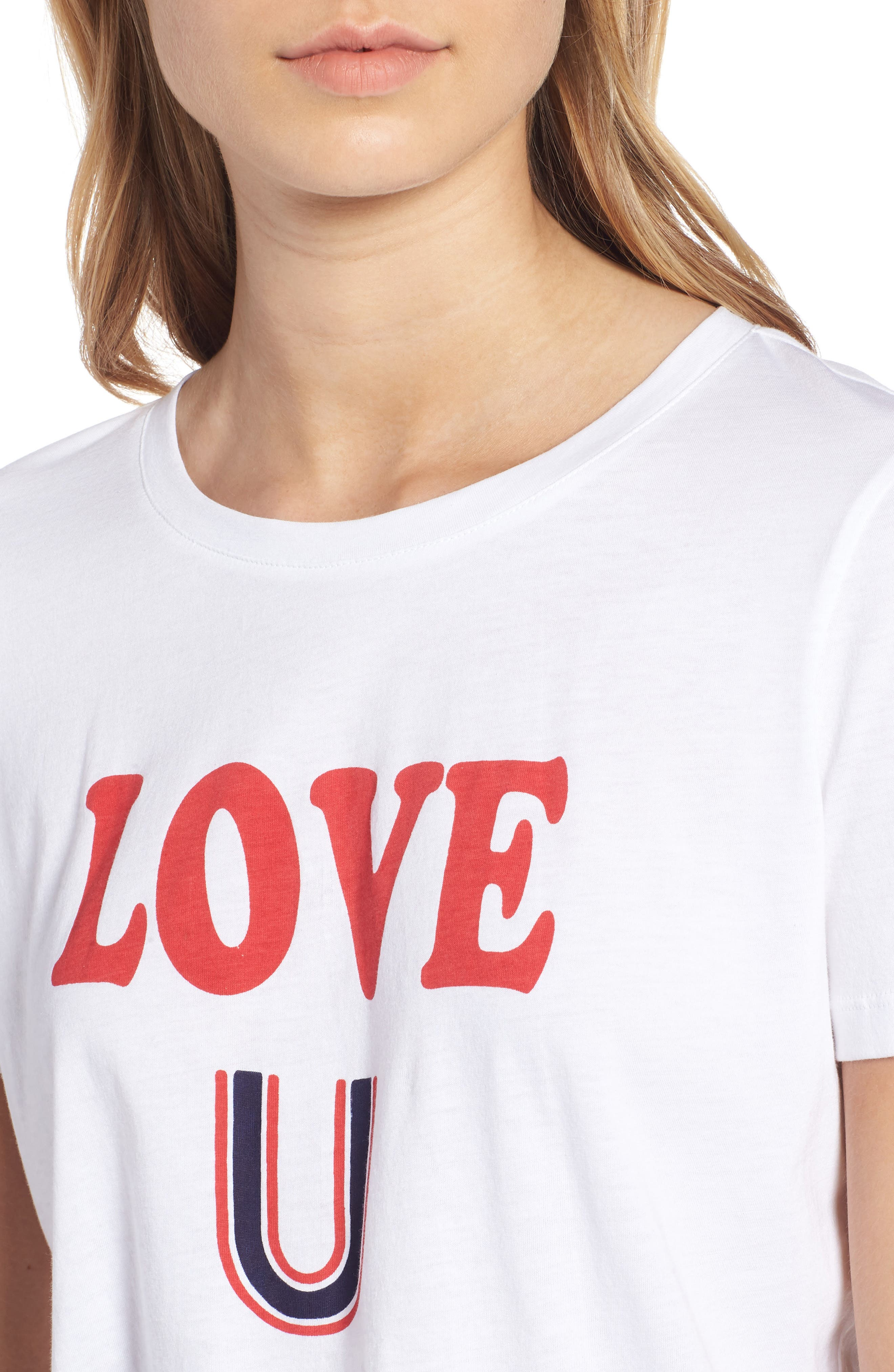 Short Sleeve Graphic Tee,                             Alternate thumbnail 4, color,                             WHITE- RED LOVE U
