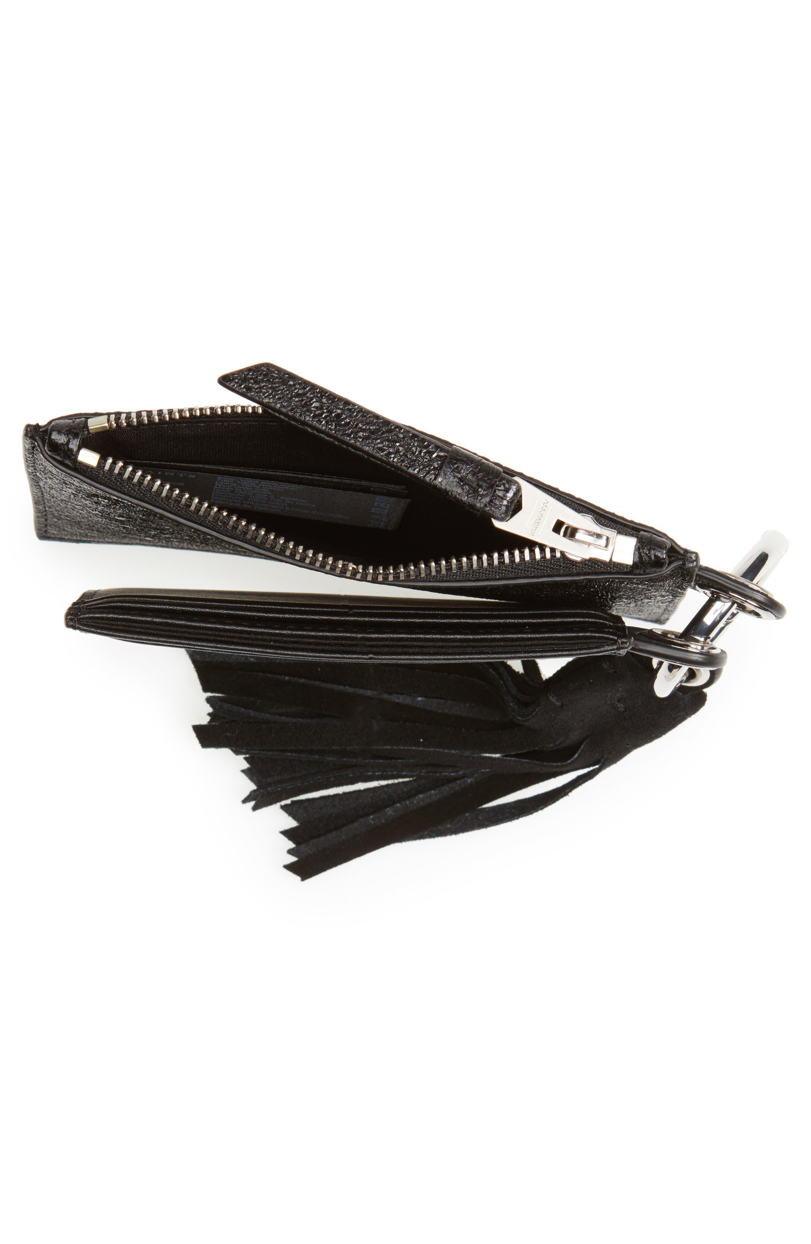 Dive Key Fob Leather Zip Pouch & Card Case,                             Alternate thumbnail 4, color,