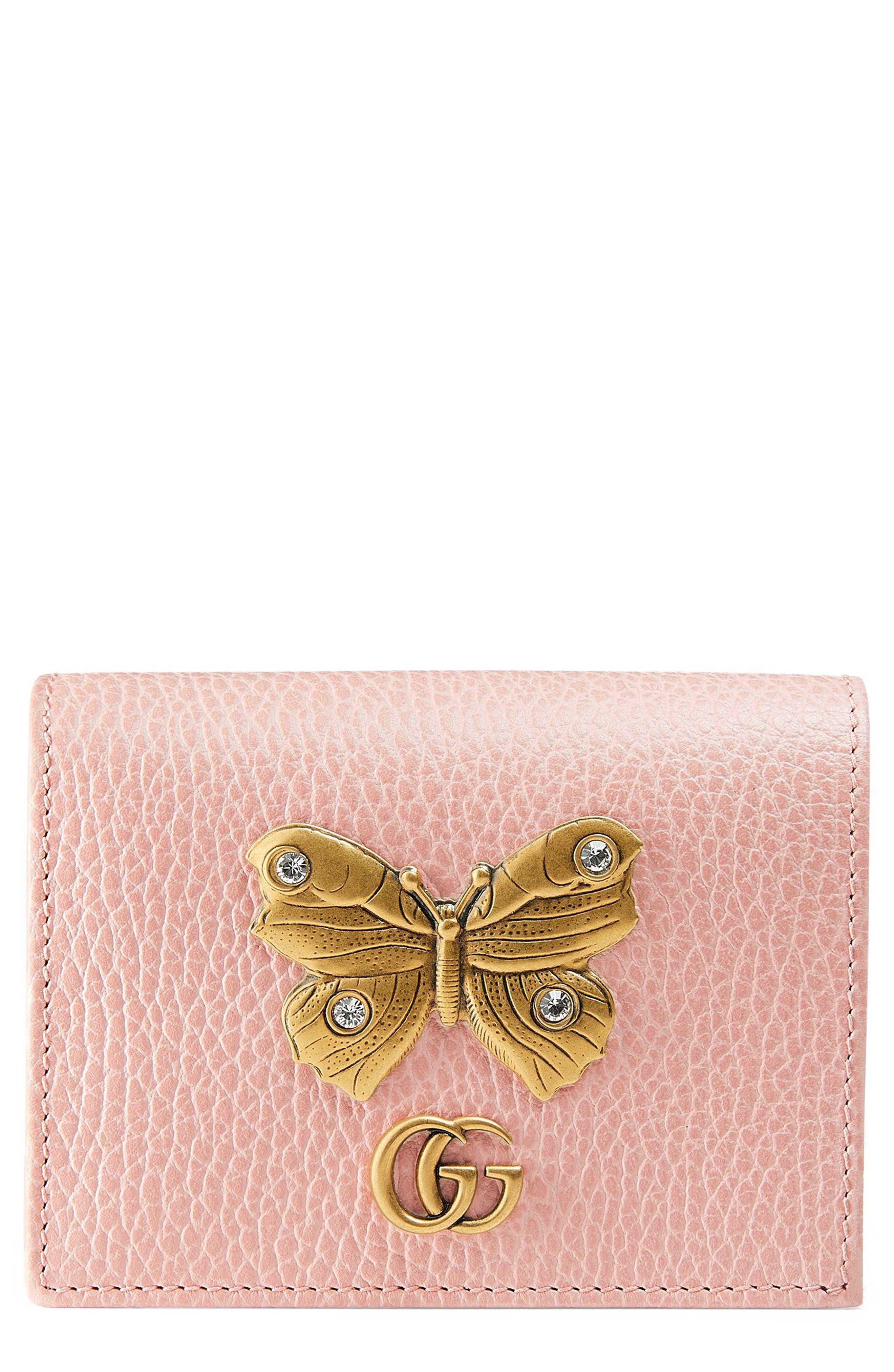 Farfalla Leather Card Case,                             Main thumbnail 1, color,                             PERFECT PINK/ CRYSTAL