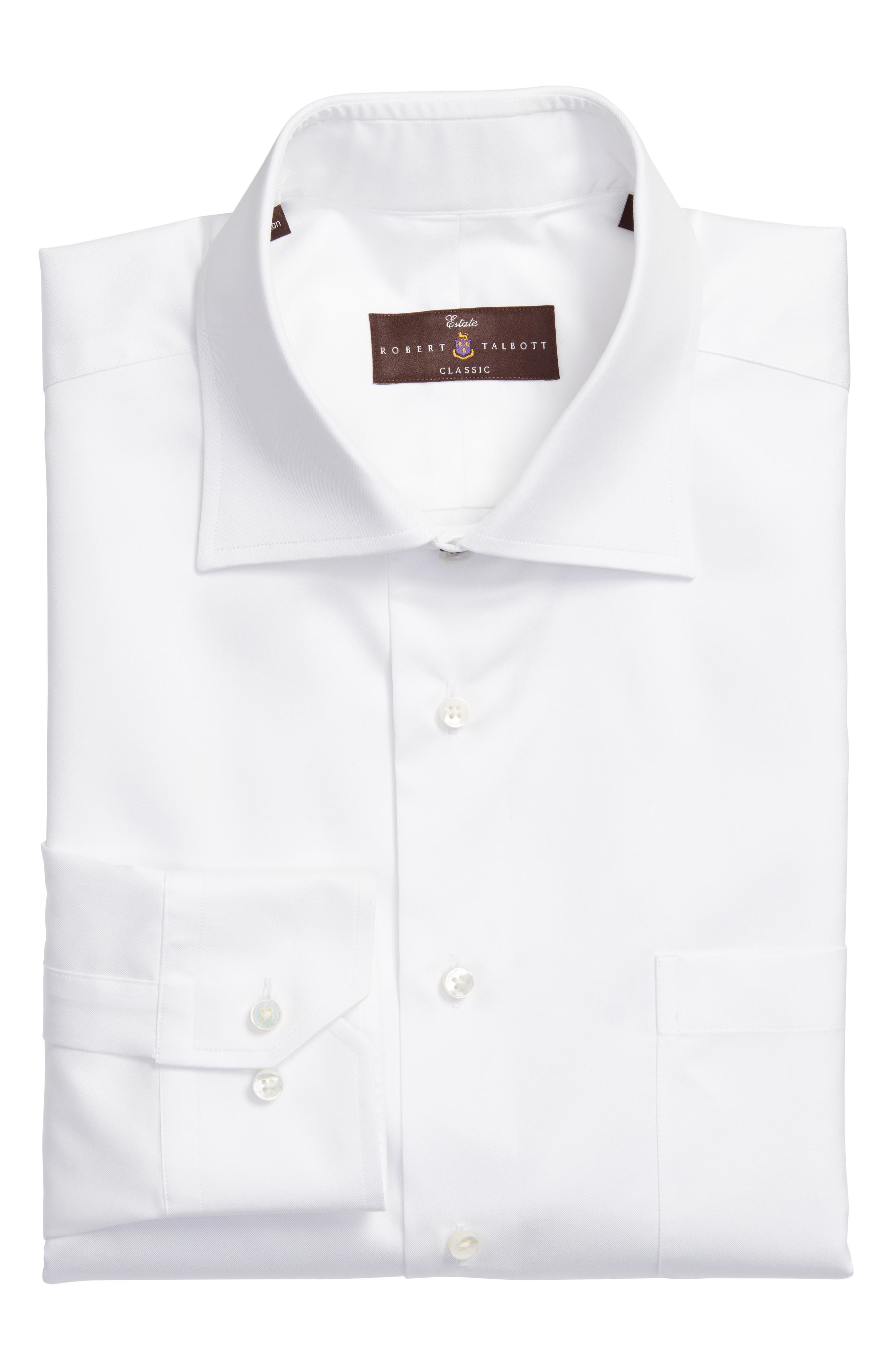 Tailored Fit Solid Dress Shirt, Main, color, 100