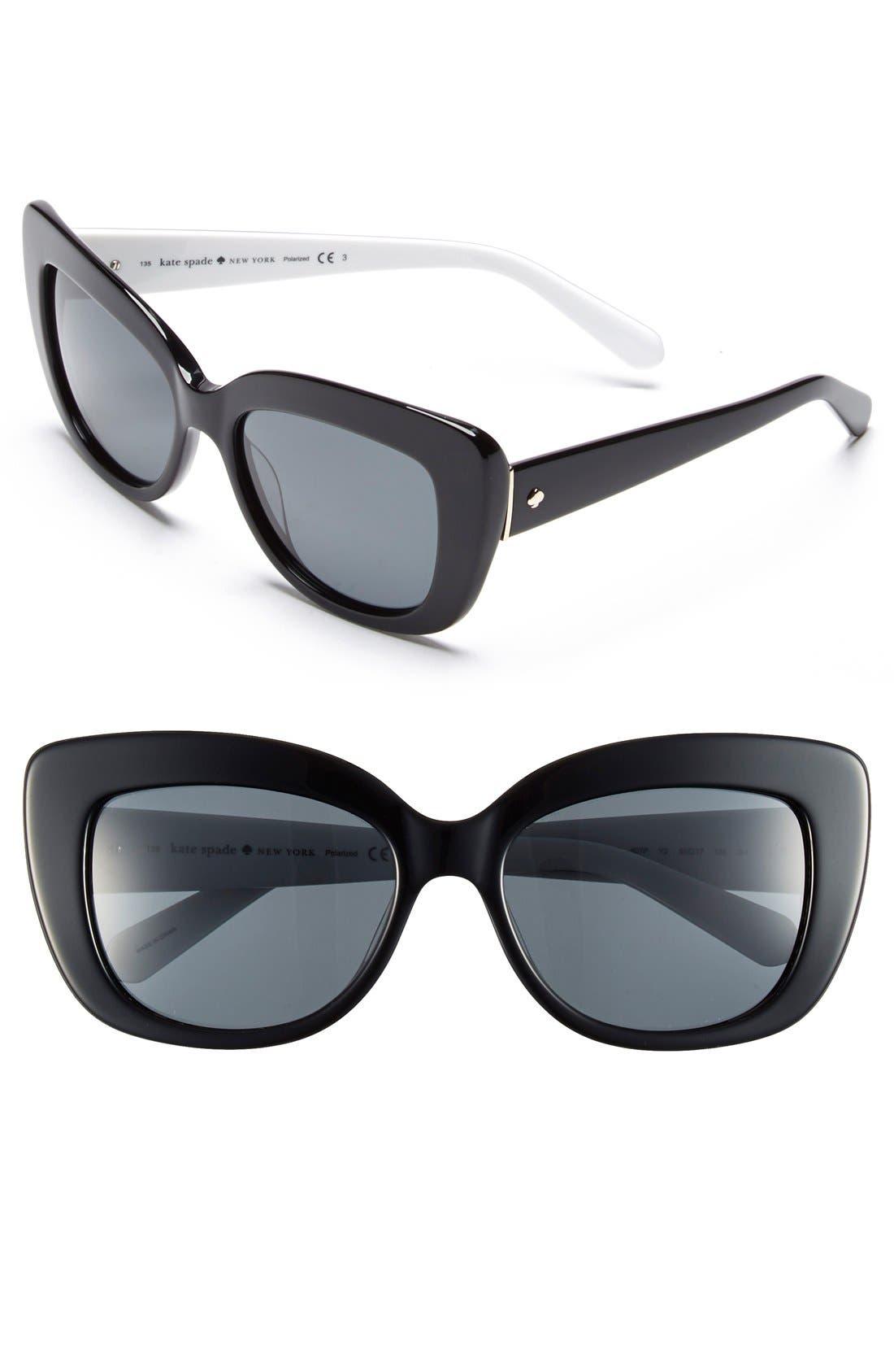 'ursula' 55mm polarized cat eye sunglasses,                         Main,                         color, 001